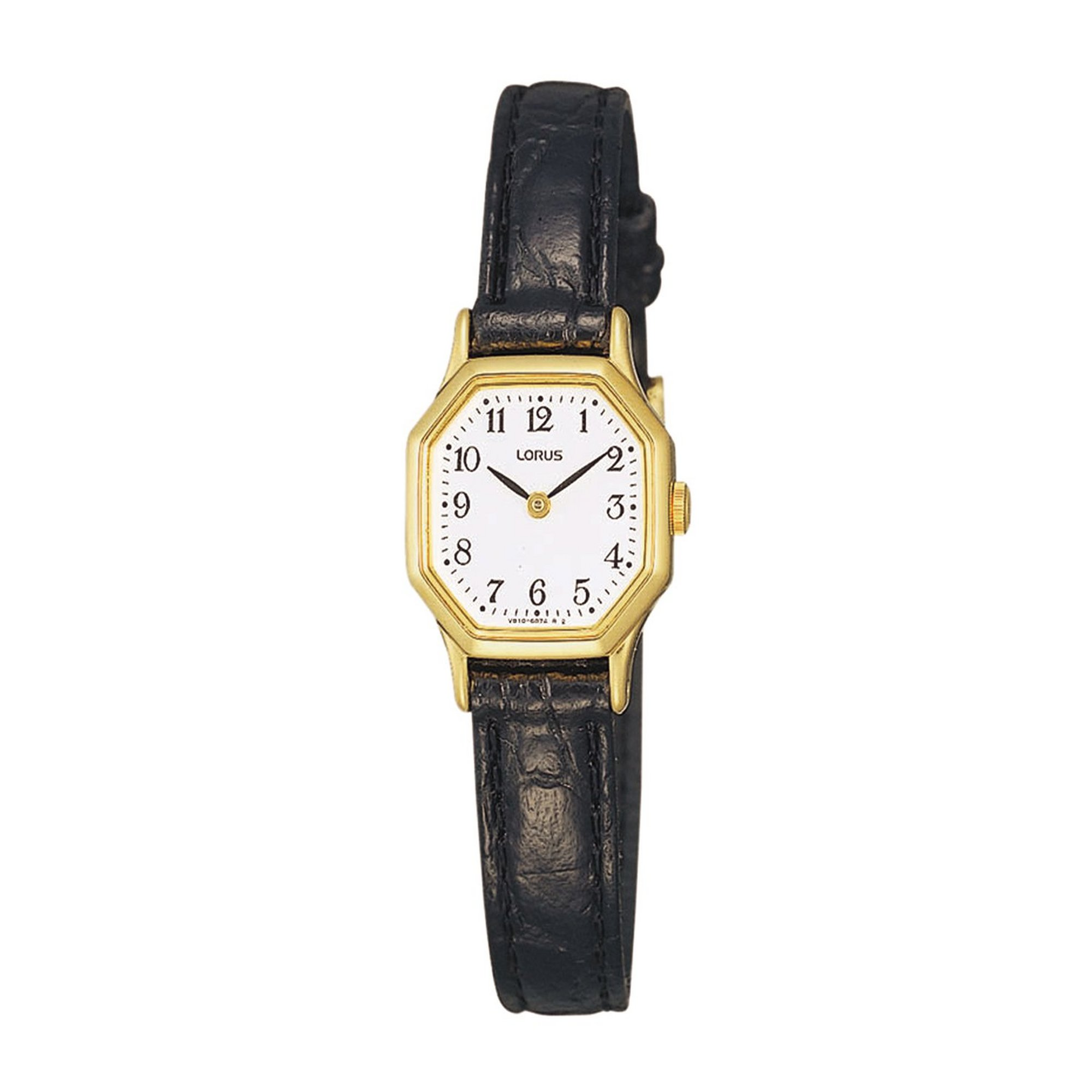 Image of Lorus Gold Hexagonal Watch with Black Leather Strap