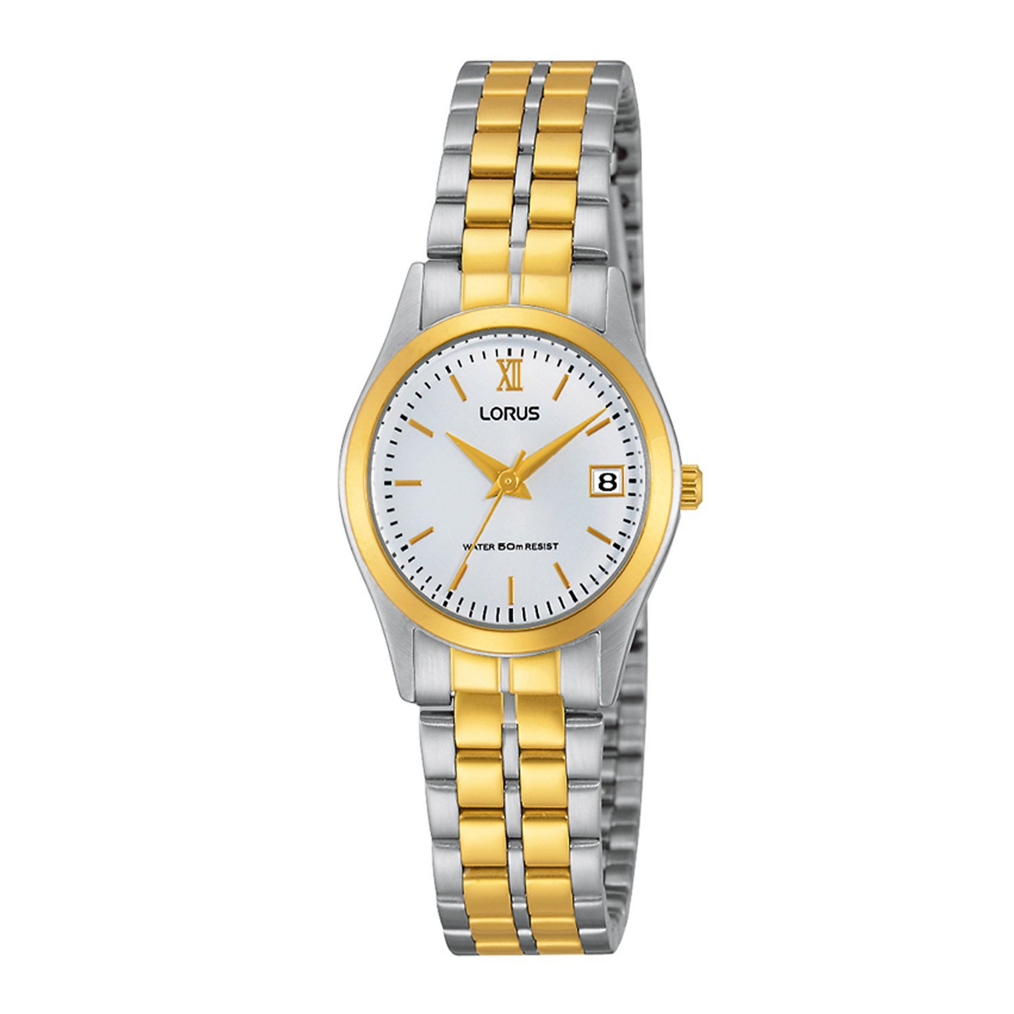 Image of Lorus Classic Two Tone Bracelet Watch with Gold Roman Numerals