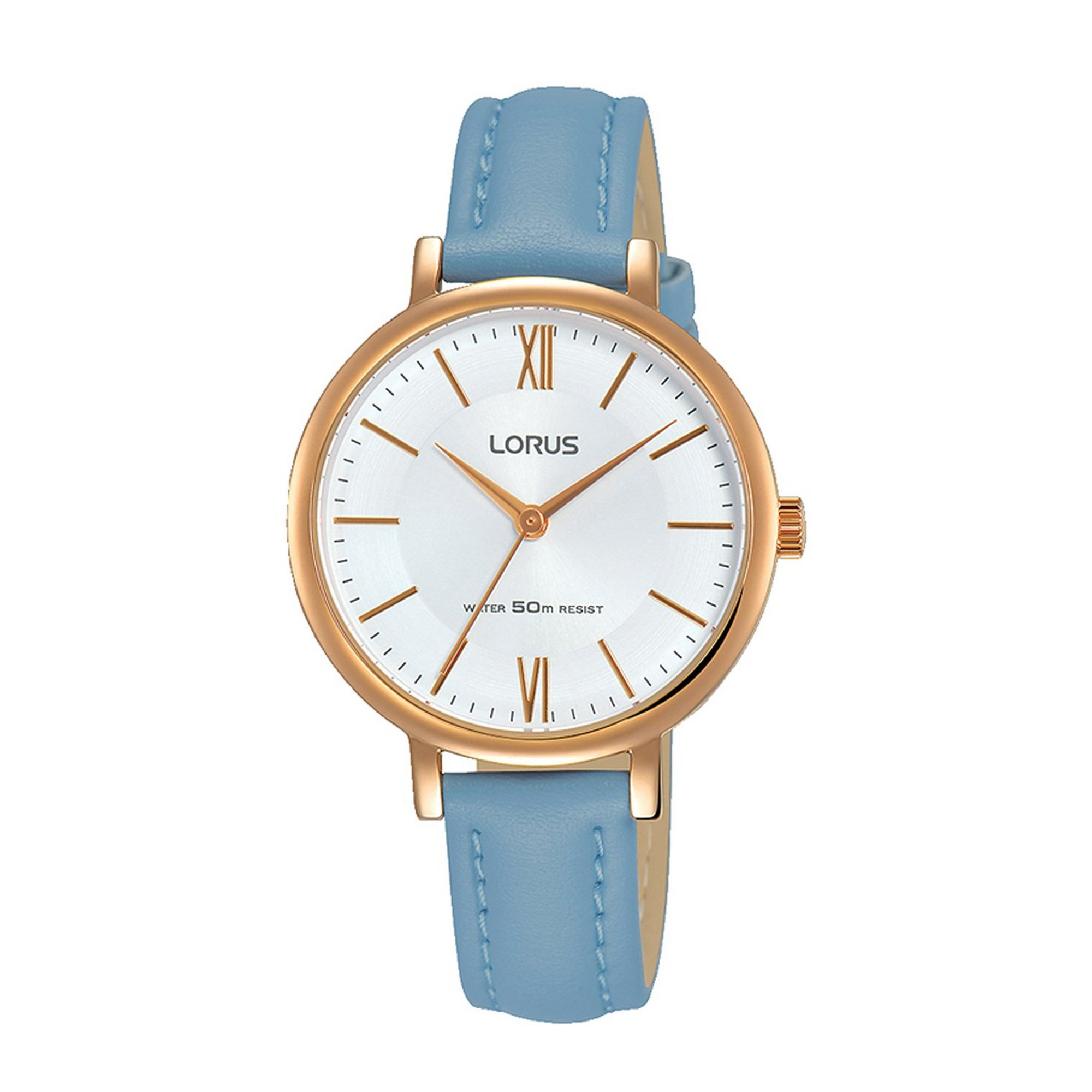 Image of Lorus Elegant Light Blue Leather Strap Watch with Rose Gold Plate...