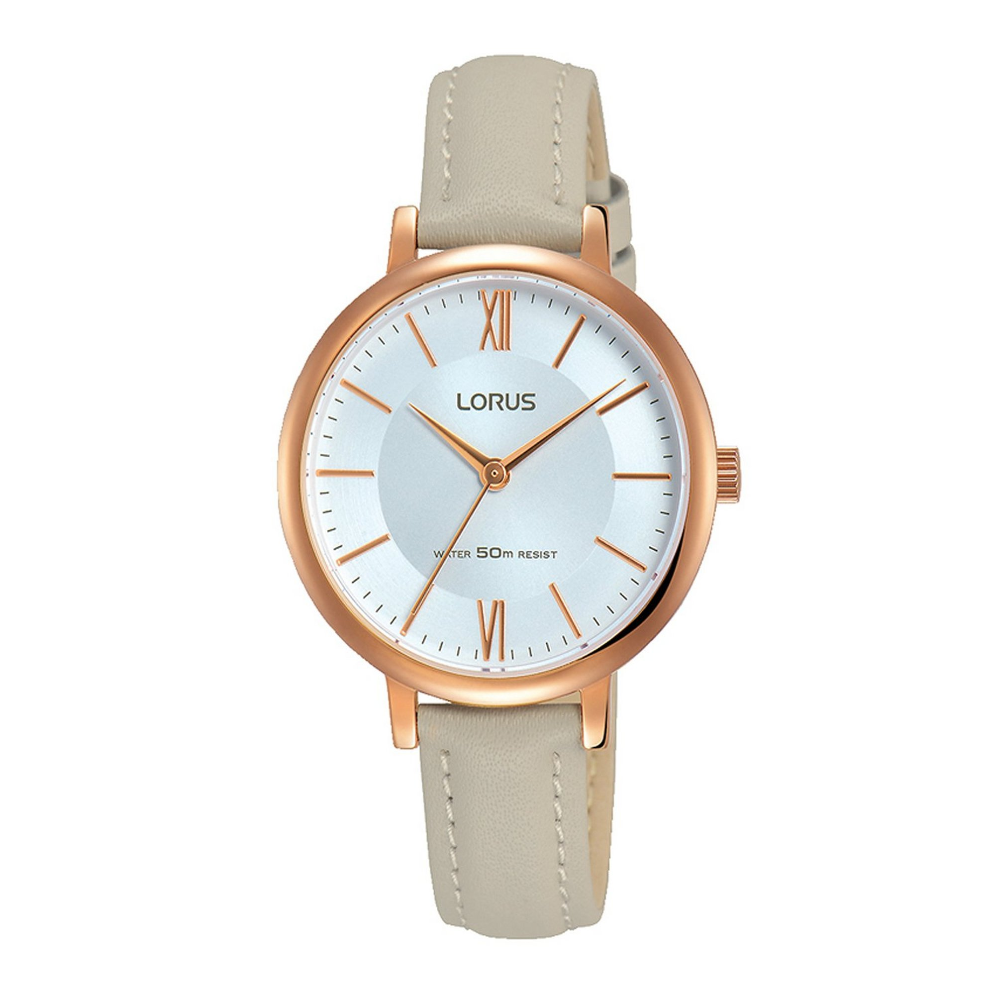 Image of Lorus Elegant Light Grey Leather Strap Watch with Rose Gold Plate...