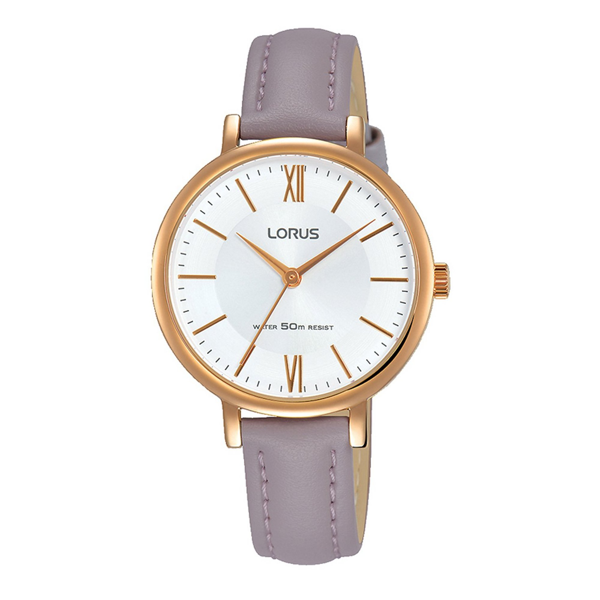 Image of Lorus Elegant Mauve Leather Strap Watch with Rose Gold Plated Case