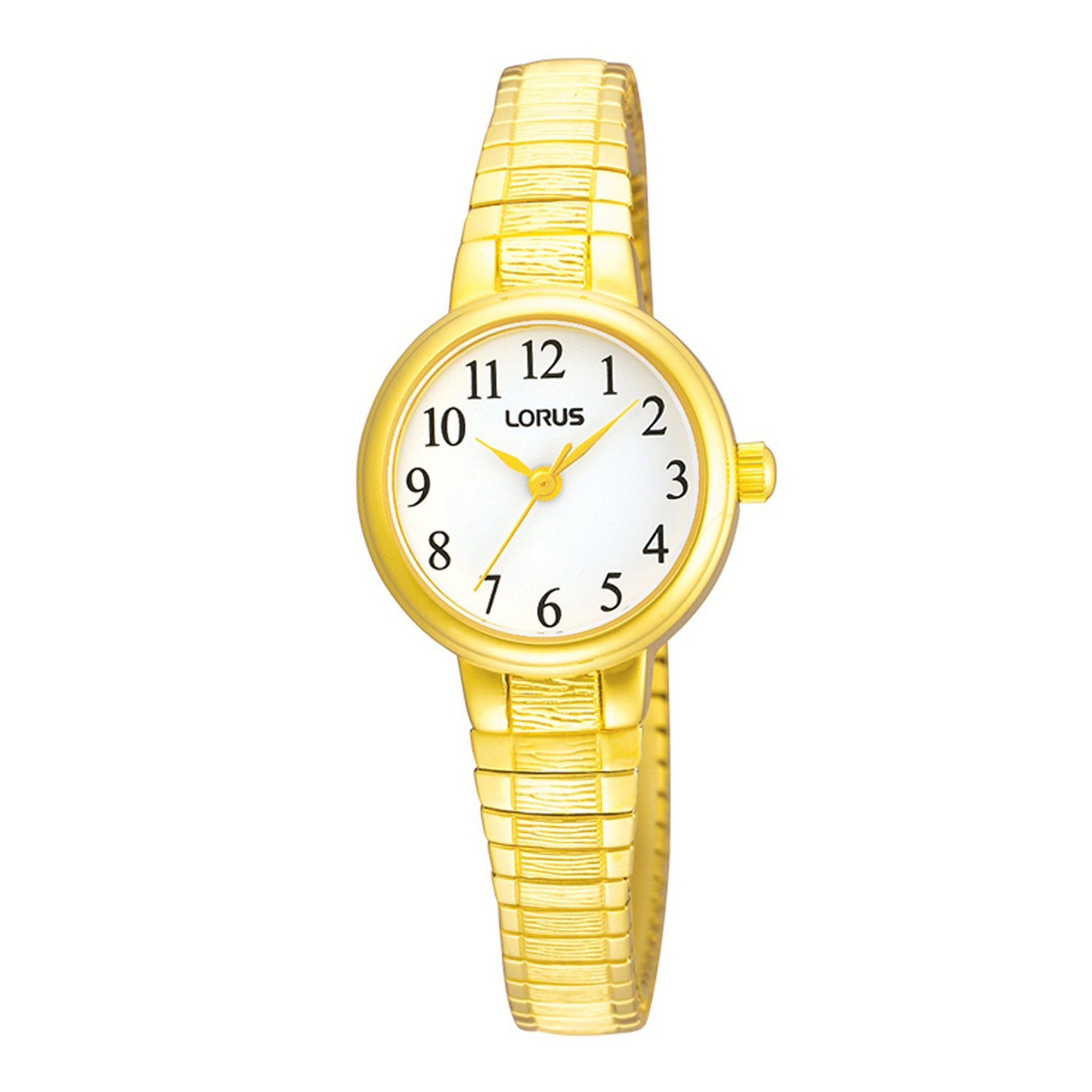 Image of Lorus Gold Plated Expanding Bracelet Watch with Circular Face