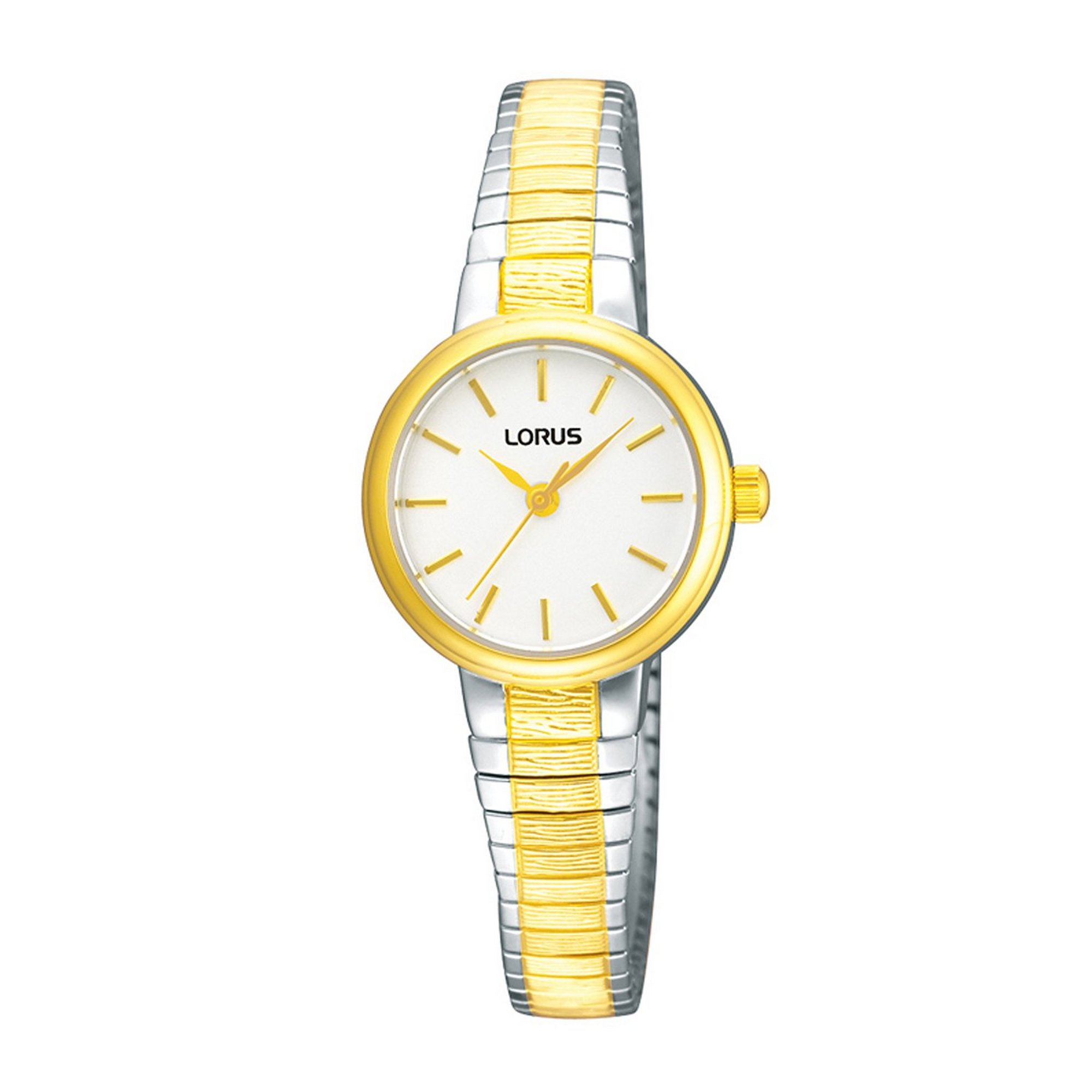 Image of Lorus Gold Plated Two Tone Expanding Bracelet Watch with Circular Face