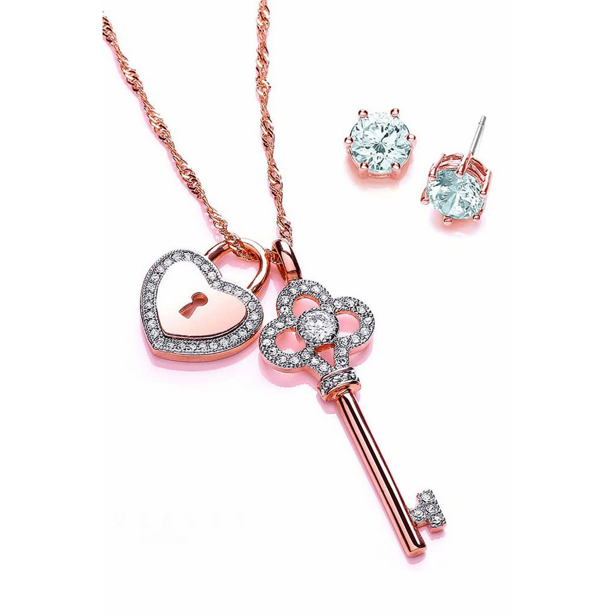 Image of Buckley London Rose Gold Key and Lock Jewellery Set