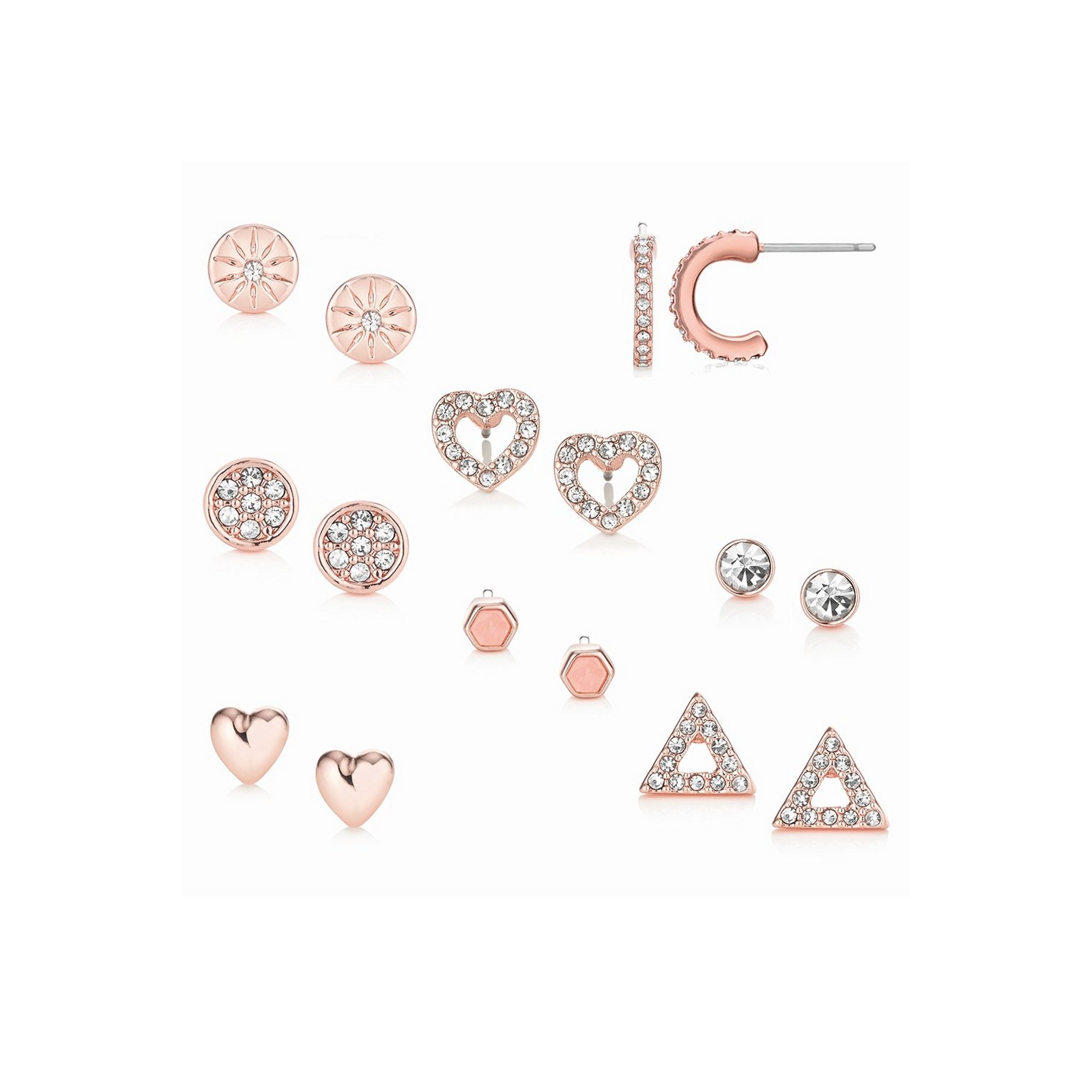 Image of Buckley London 8-Piece Rose Gold Earring Set