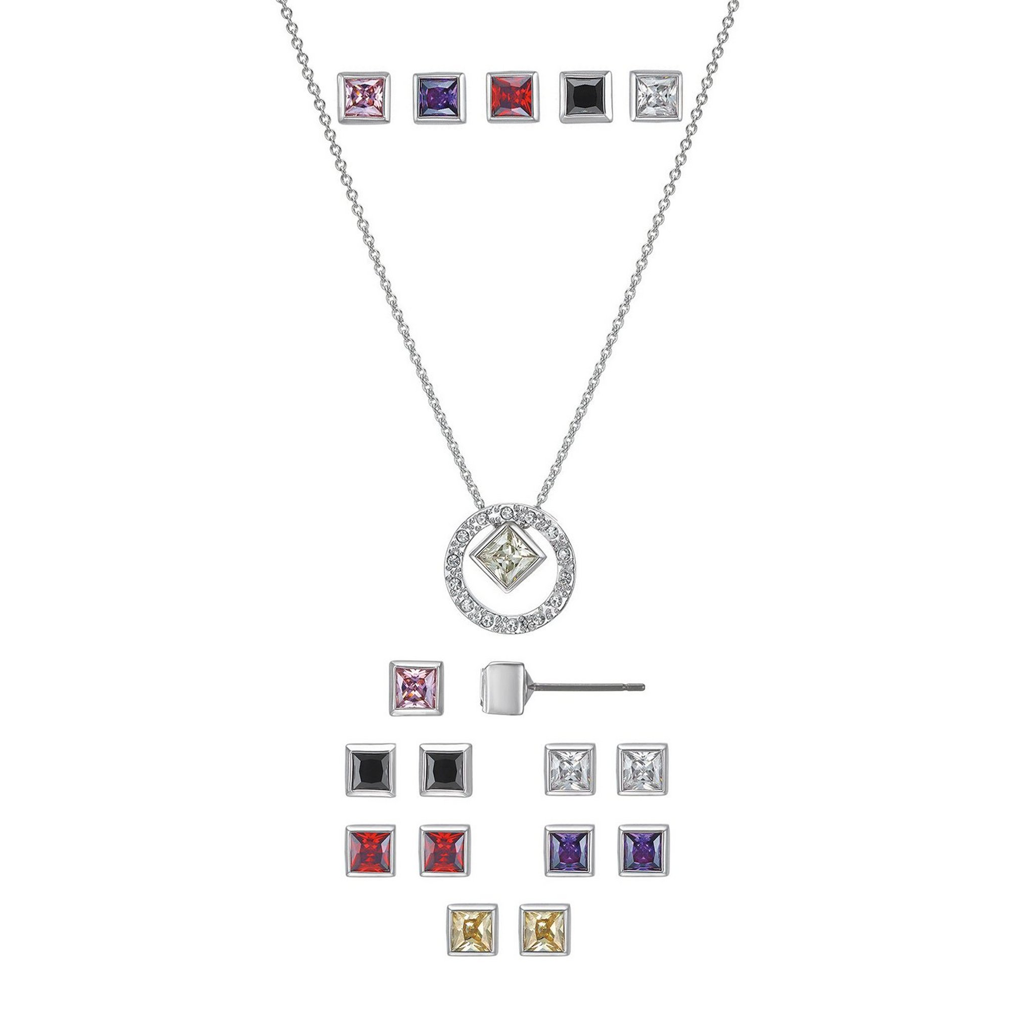 Image of Buckley London Rhodium Interchangeable Pendant and Earrings Set