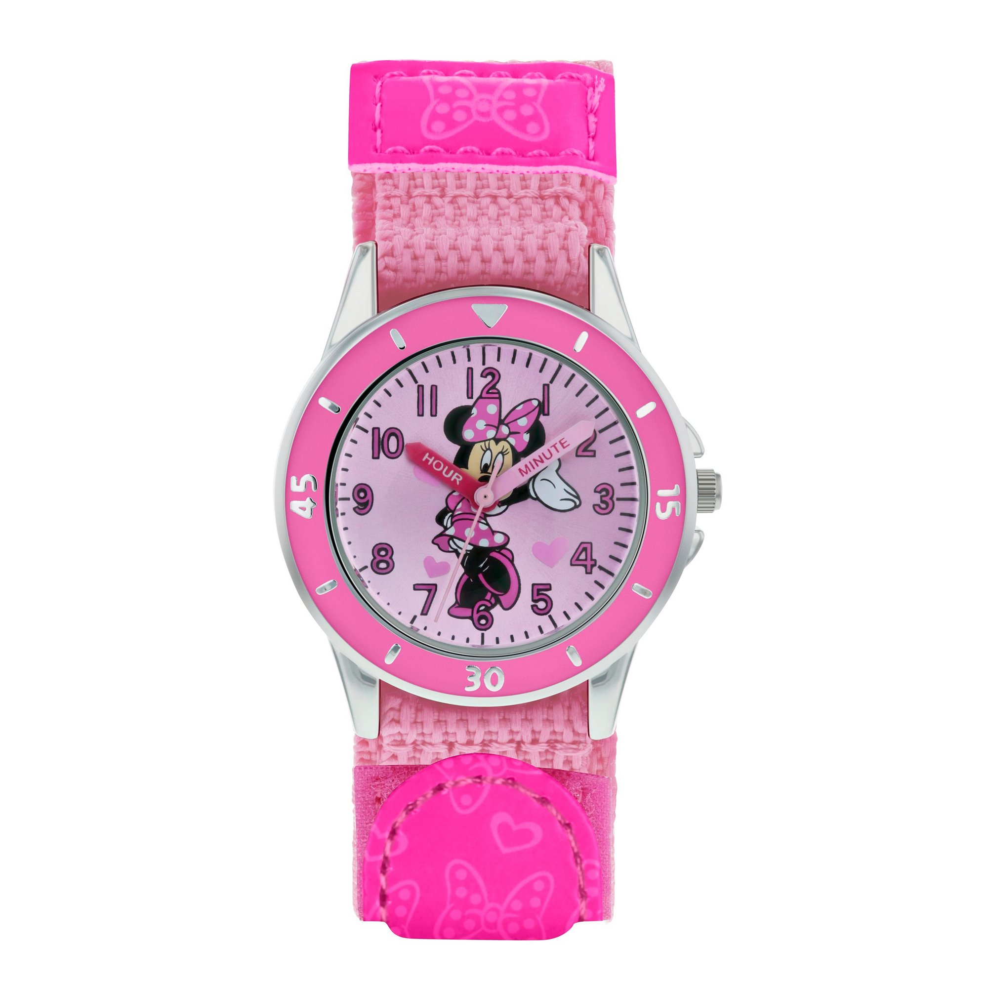 Image of Disney Minnie Mouse Adult Pink PU Webbing Strap Watch