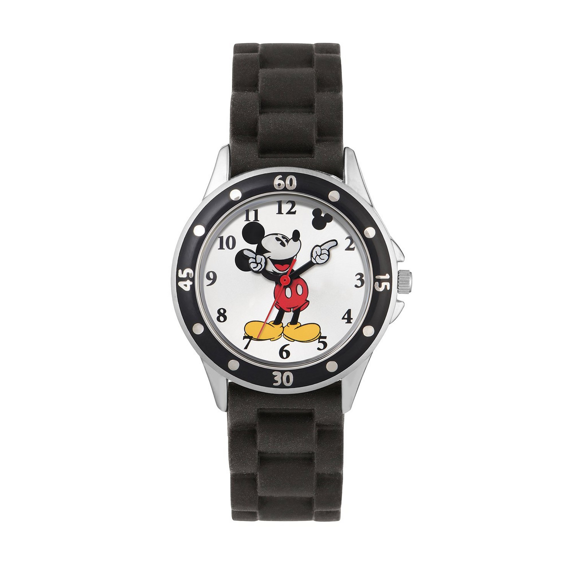 Image of Disney Mickey Mouse Black Silicone Strap Watch