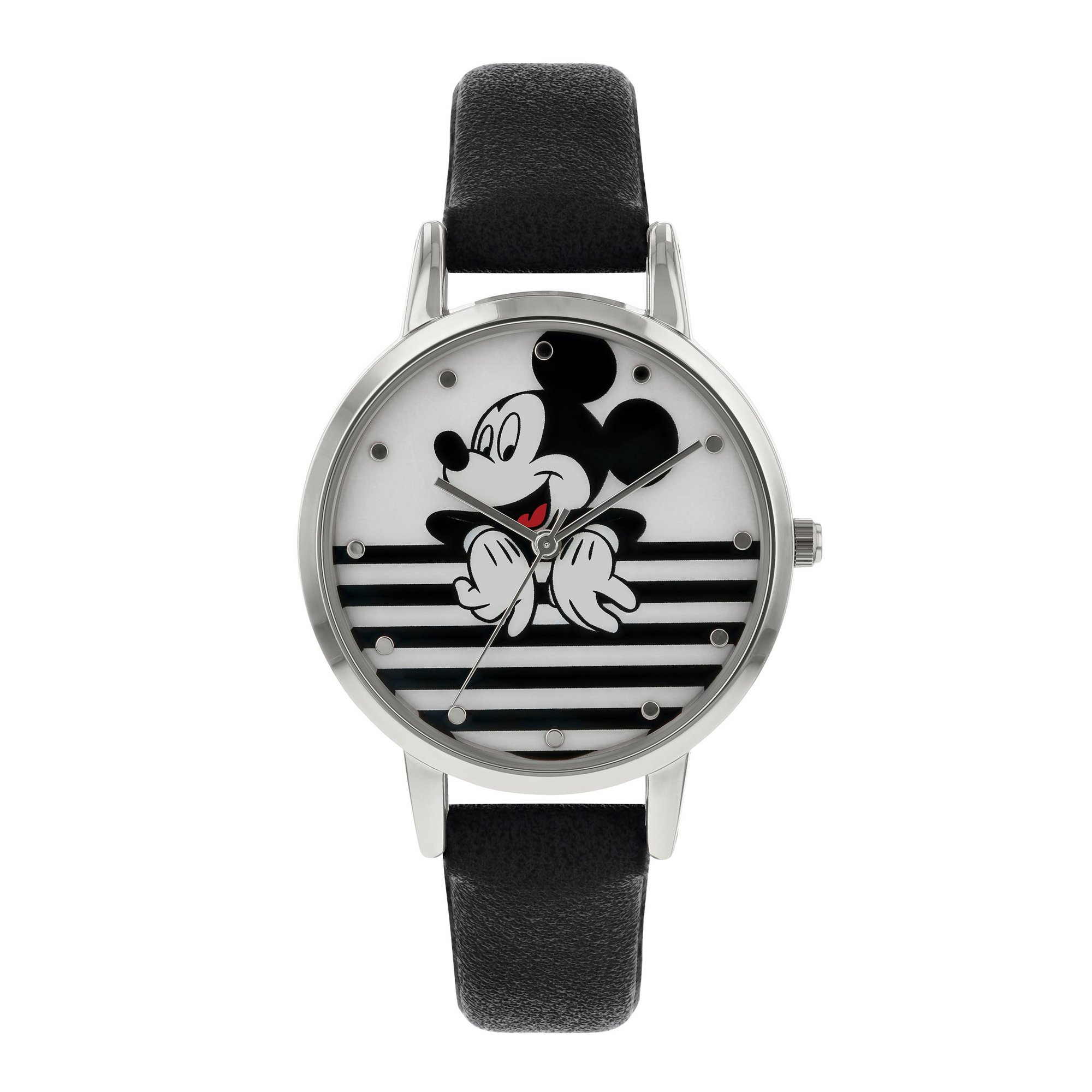 Image of Disney Mickey Mouse Black PU Strap Watch