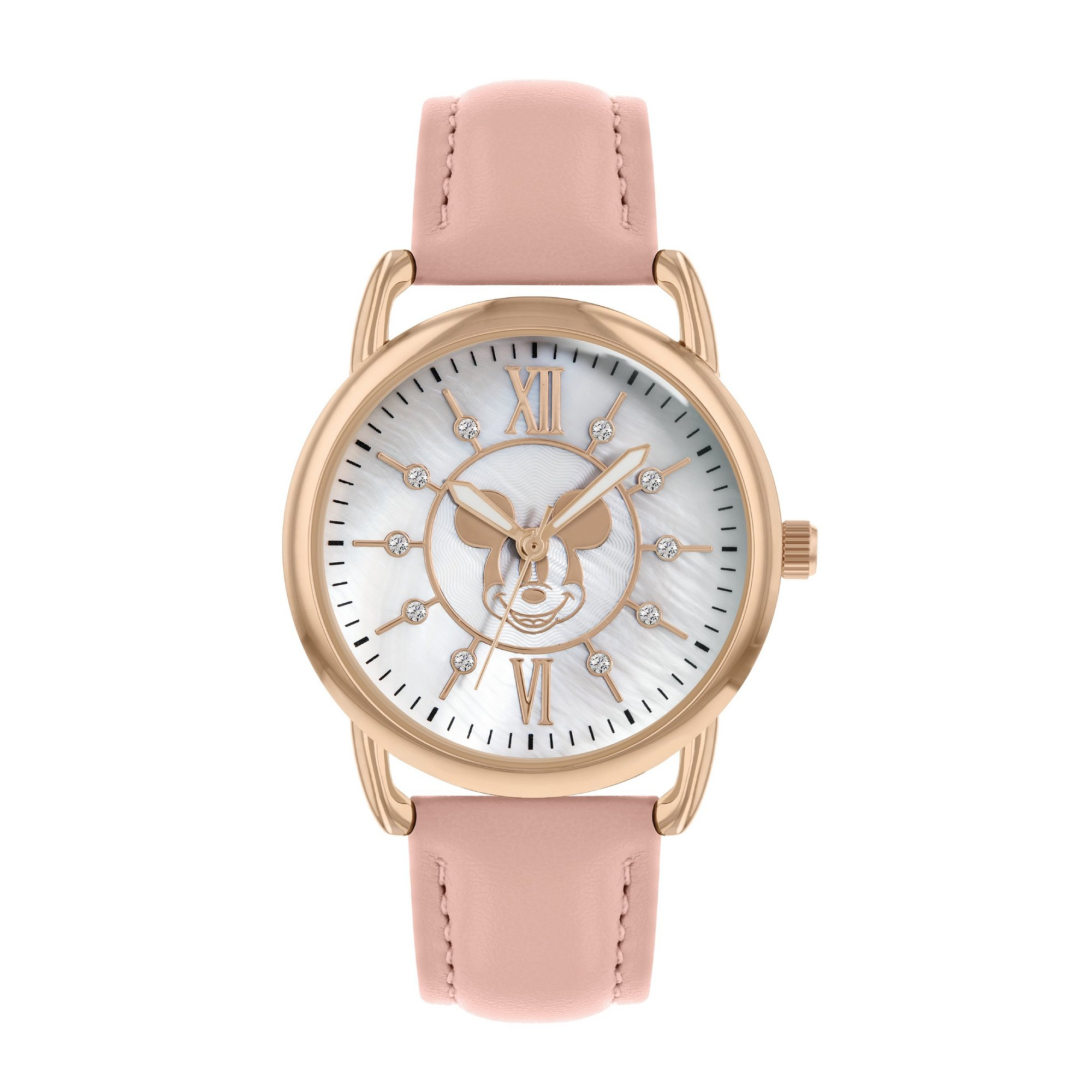 Image of Disney Mickey Mouse Pink Leather Strap Watch