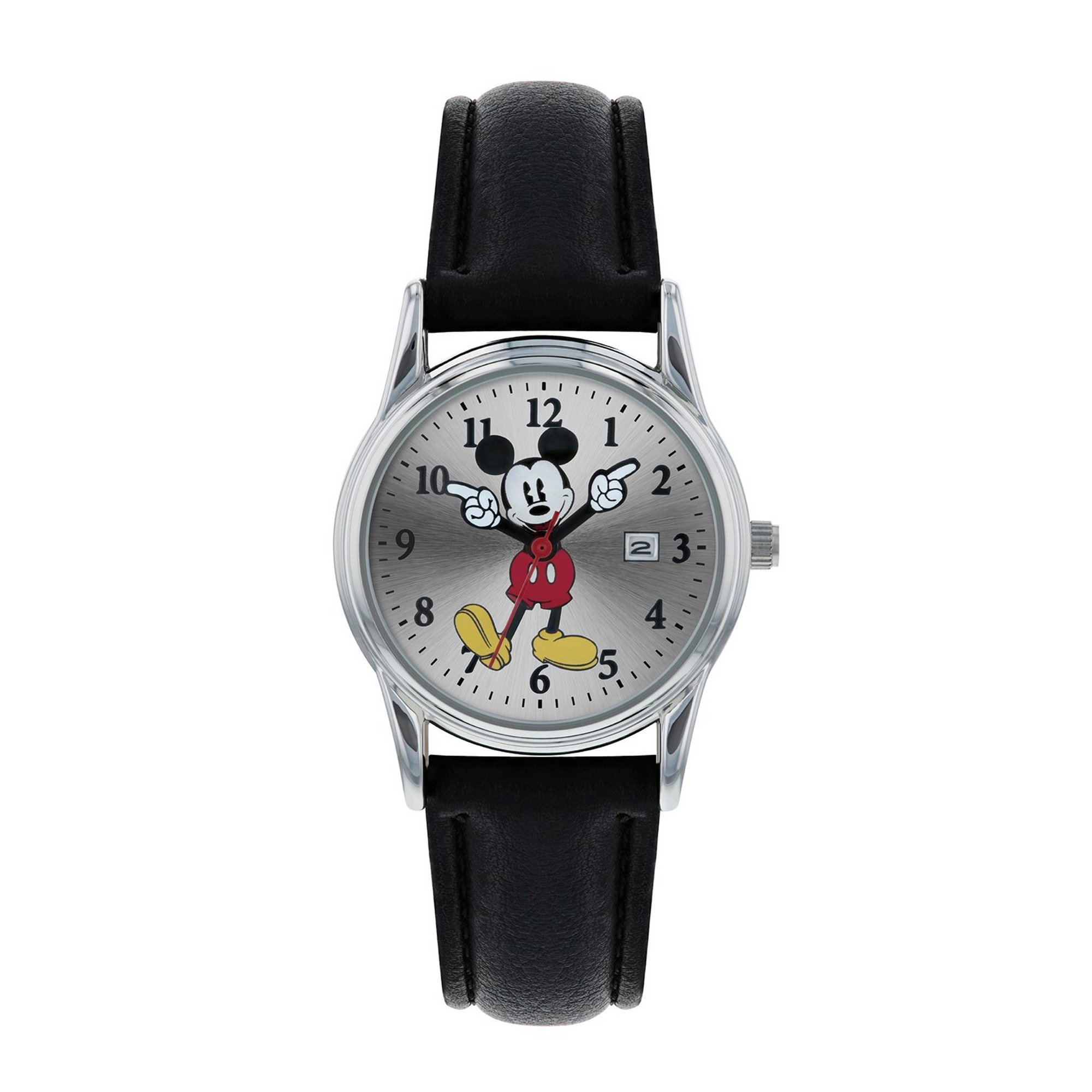 Image of Disney Mickey Mouse Black PU Strap Watch with Moving Hands