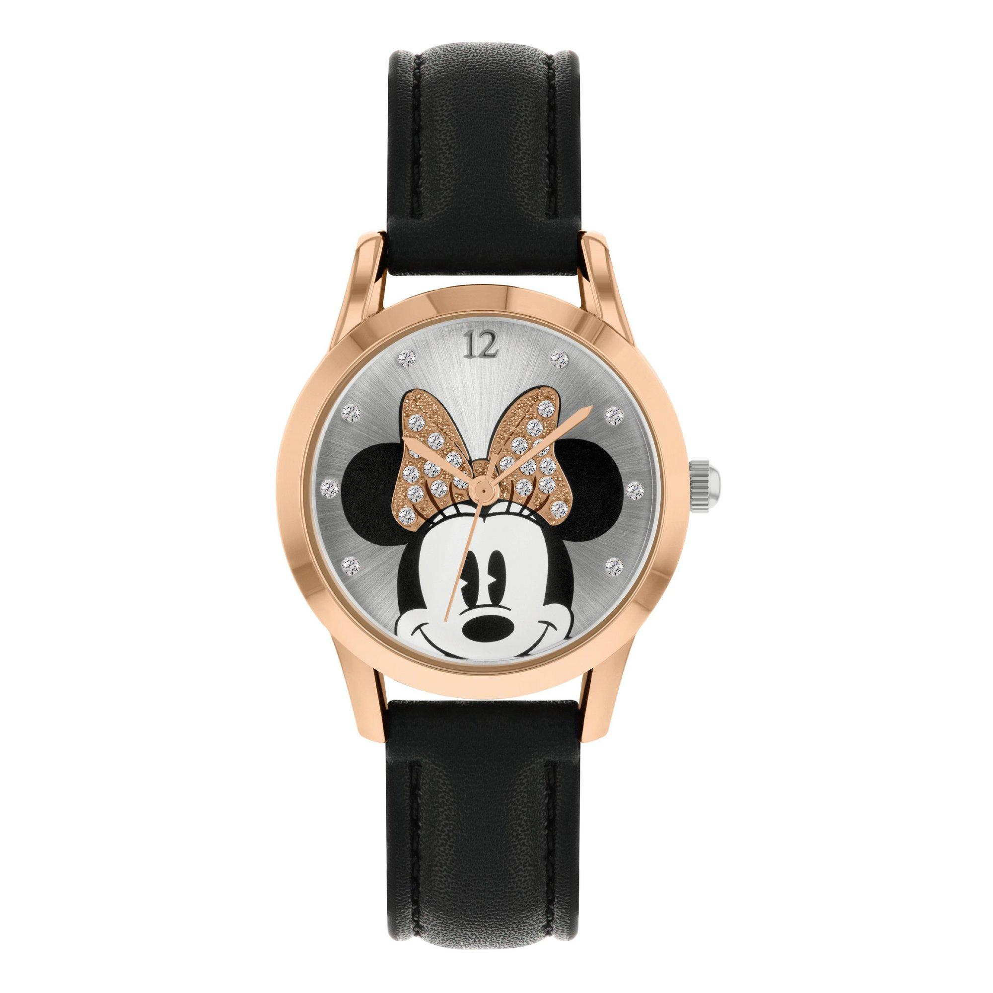 Image of Disney Minnie Mouse Black PU Strap Watch