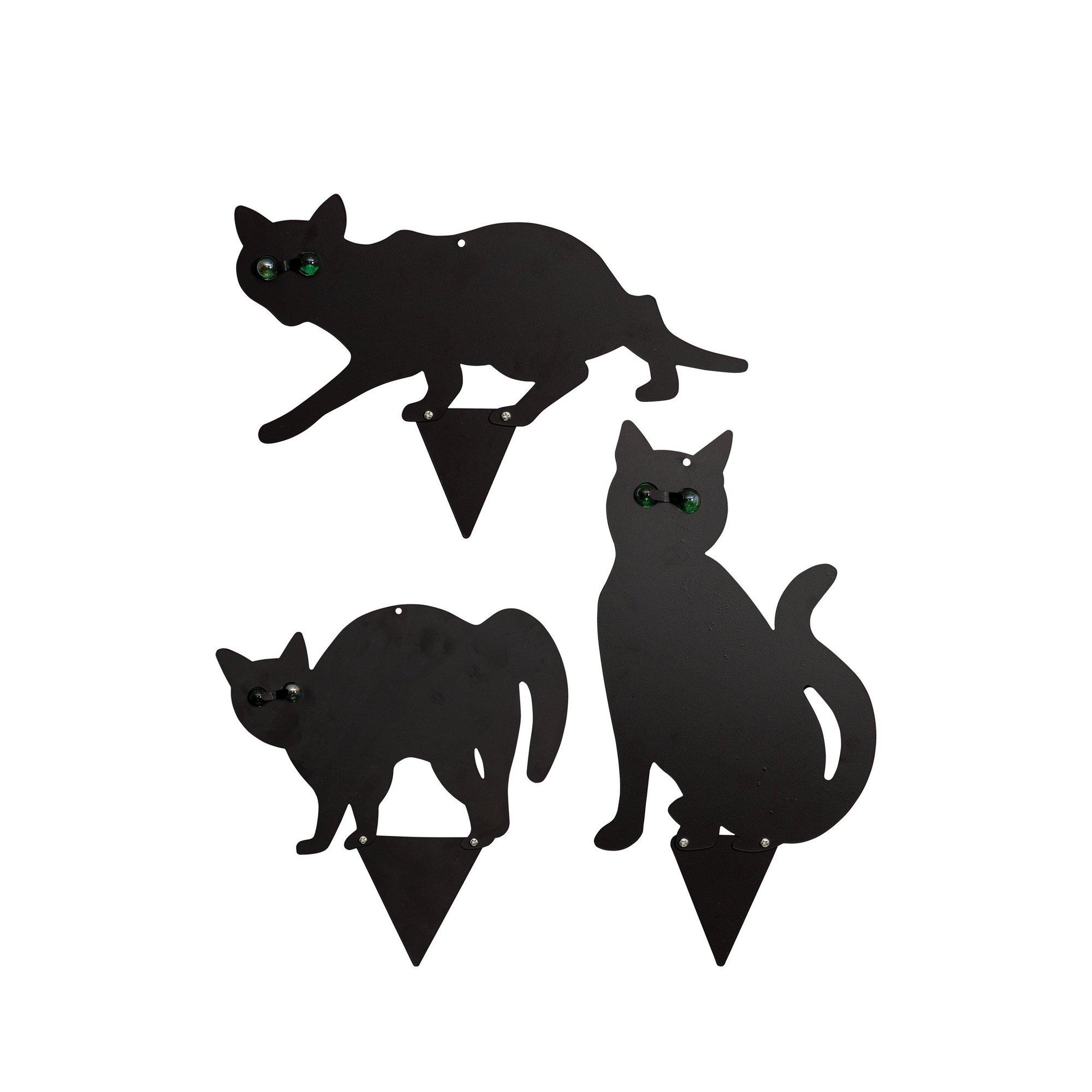 Image of 3 Black Metal Cat Scarer