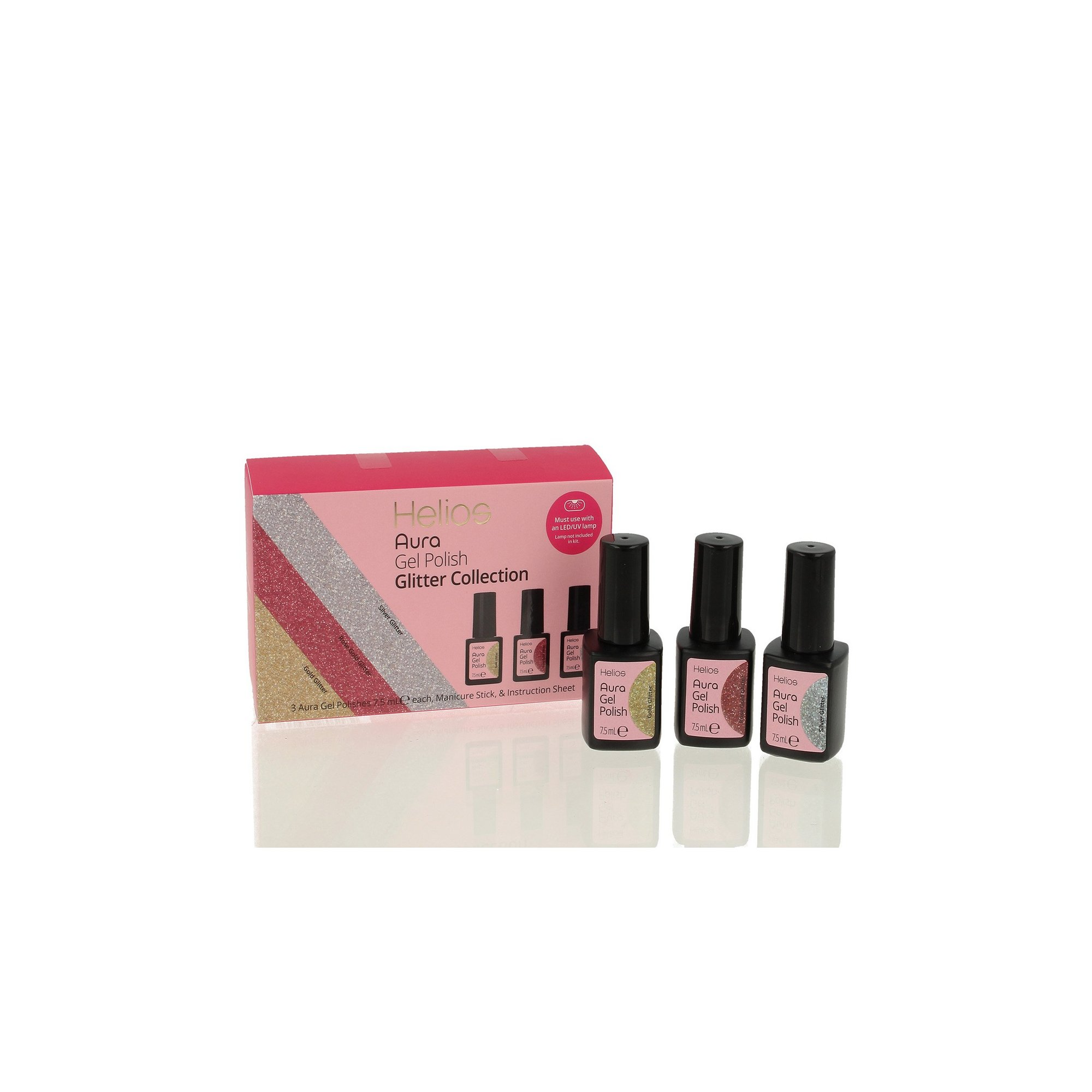 Image of Helios Pack of 3 Glitter Gel Nail Colours