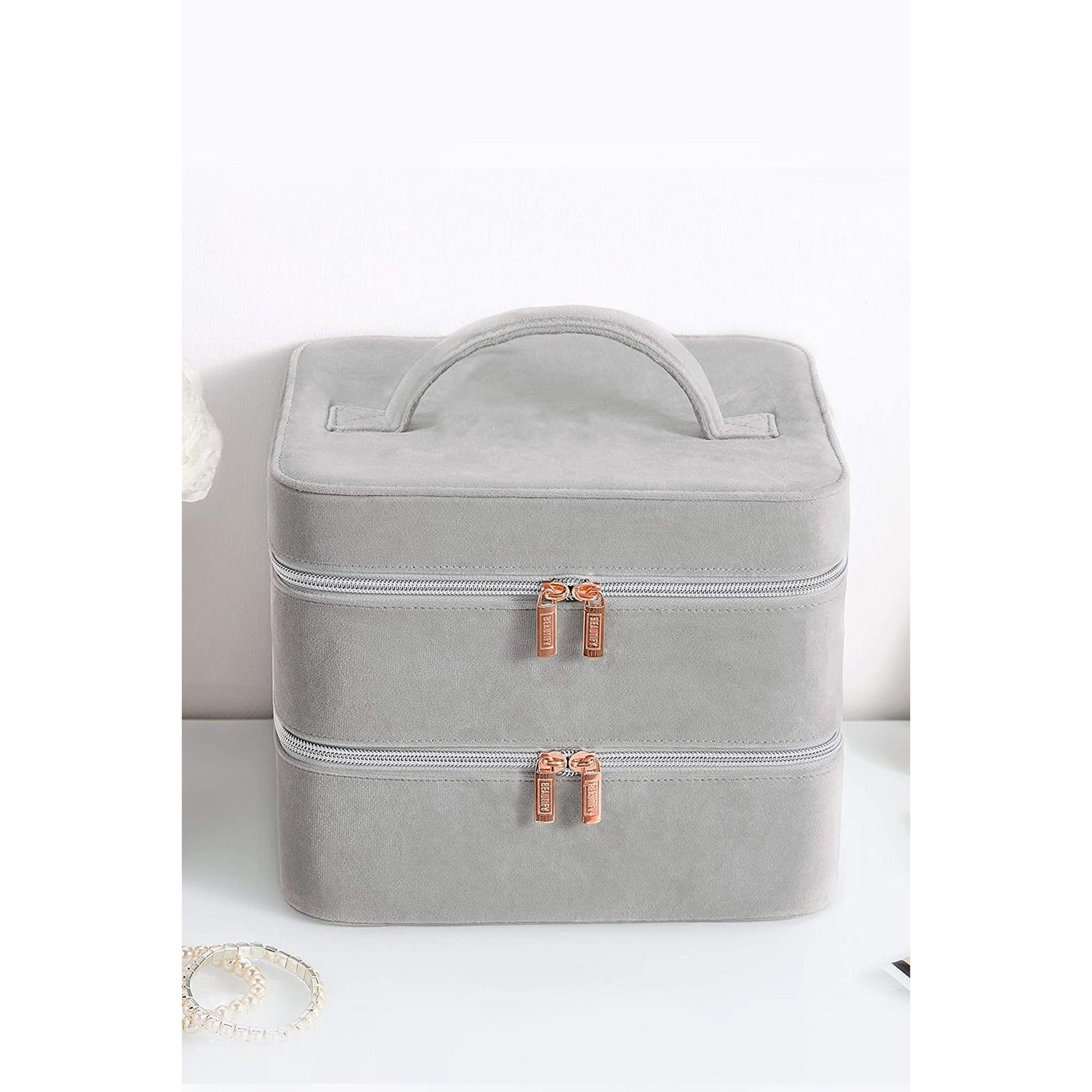Image of Beautify 2 Tier Grey Make Up Case