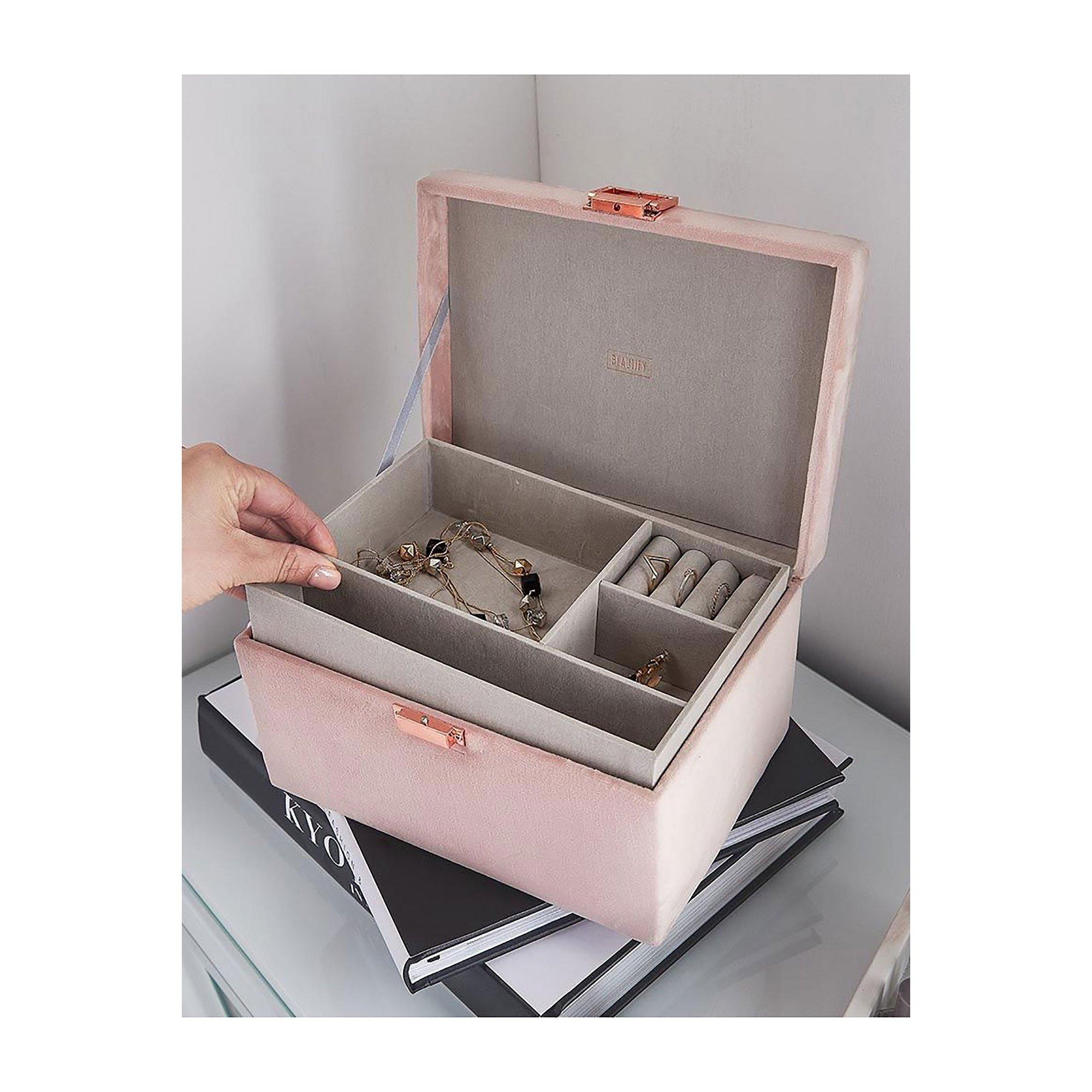 Image of Beautify Blush Pink Velvet Jewellery Box