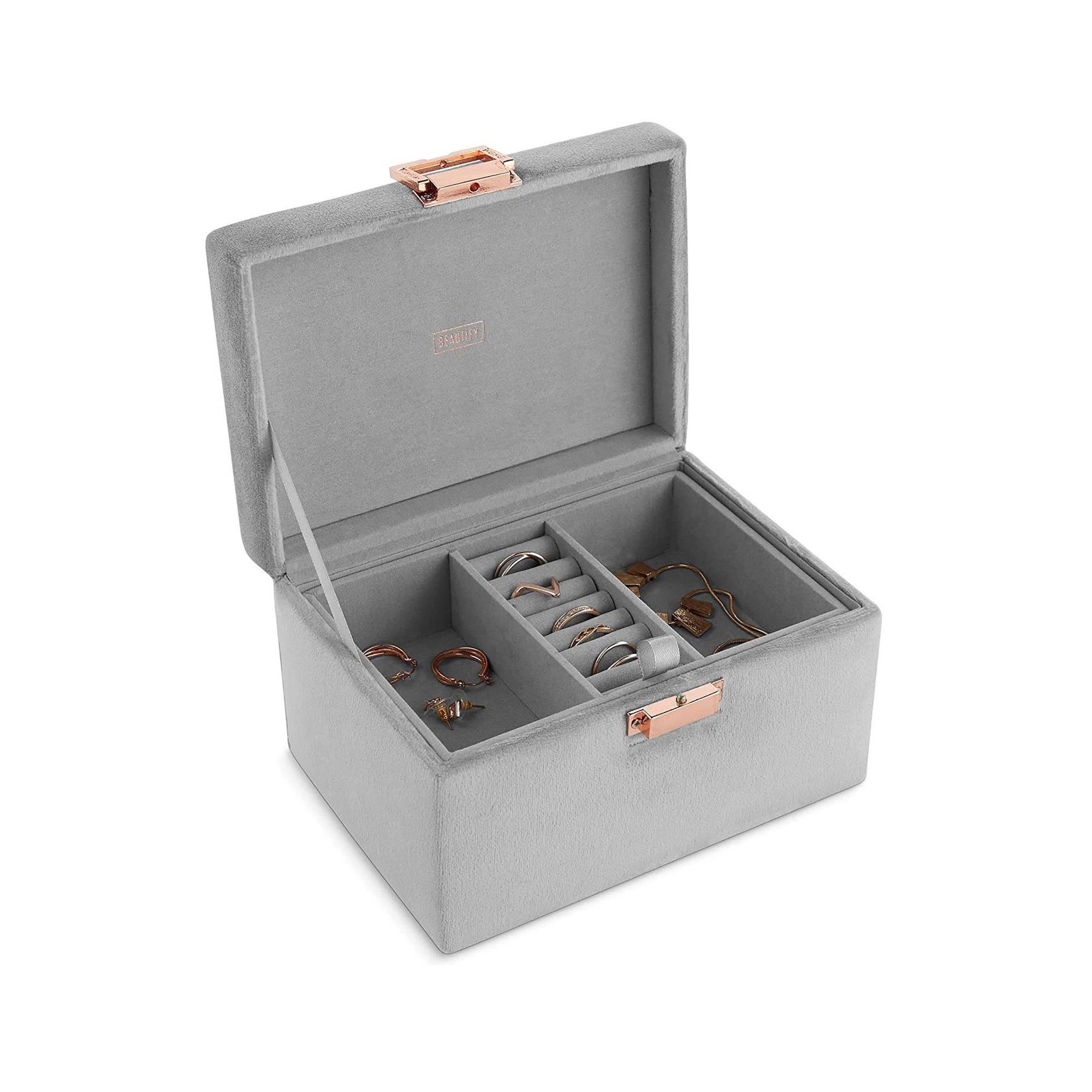 Image of Beautify Grey Velvet Jewellery Box