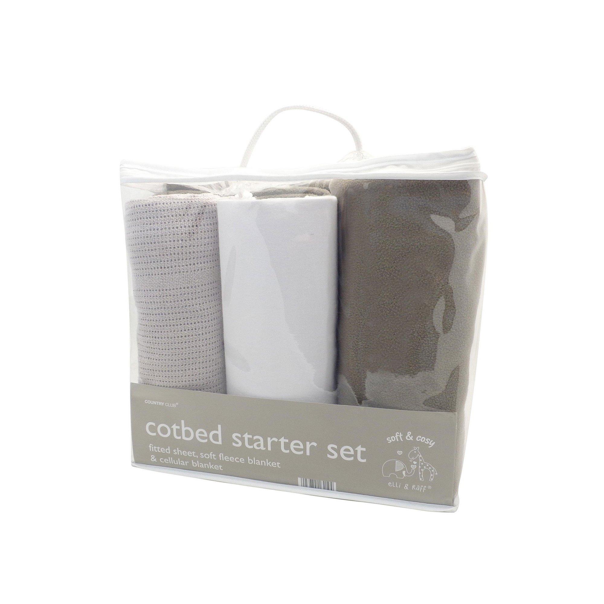 Image of 3 Piece Cot Bed Grey Starter Set