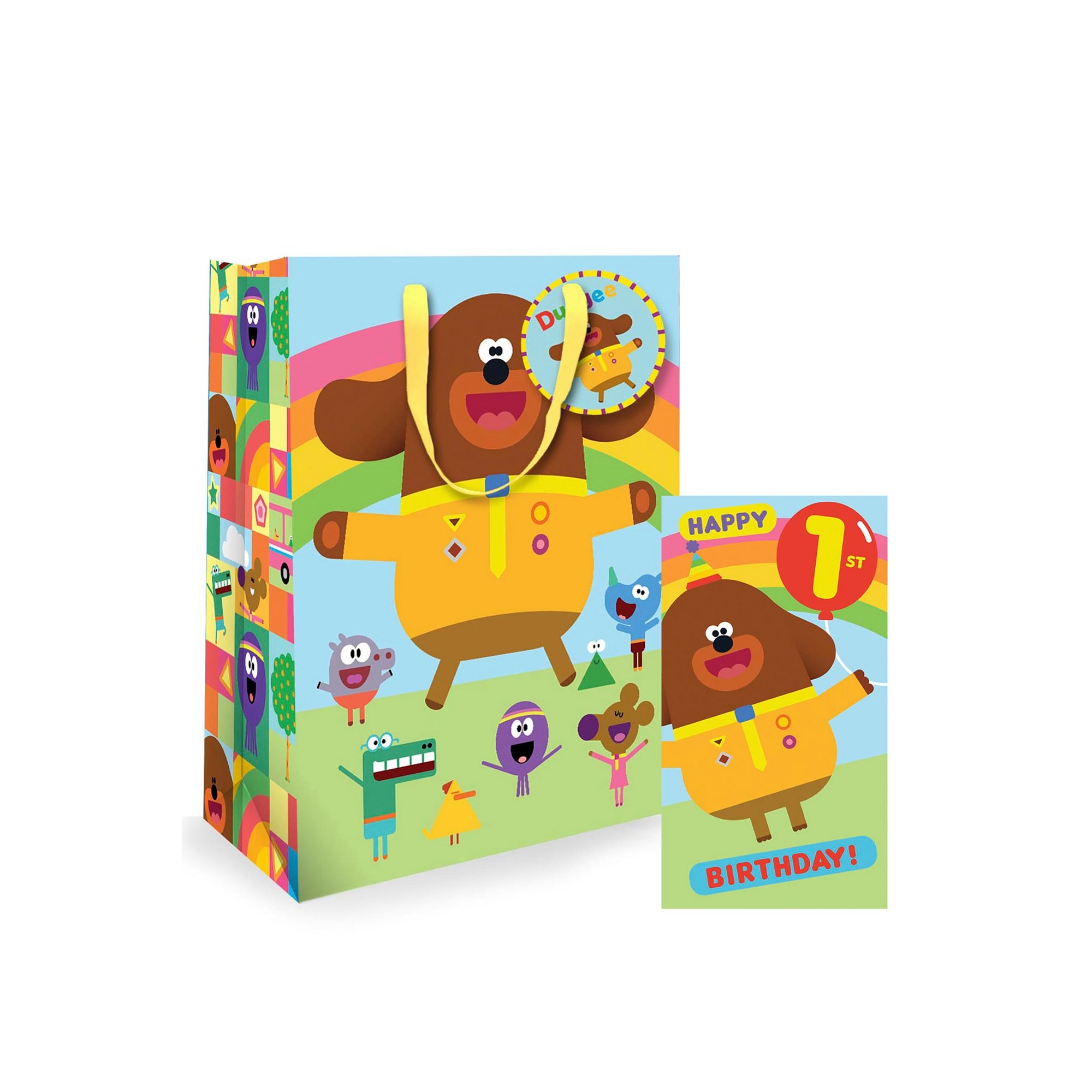Image of Hey Duggee 1st Birthday Card and Gift Bag