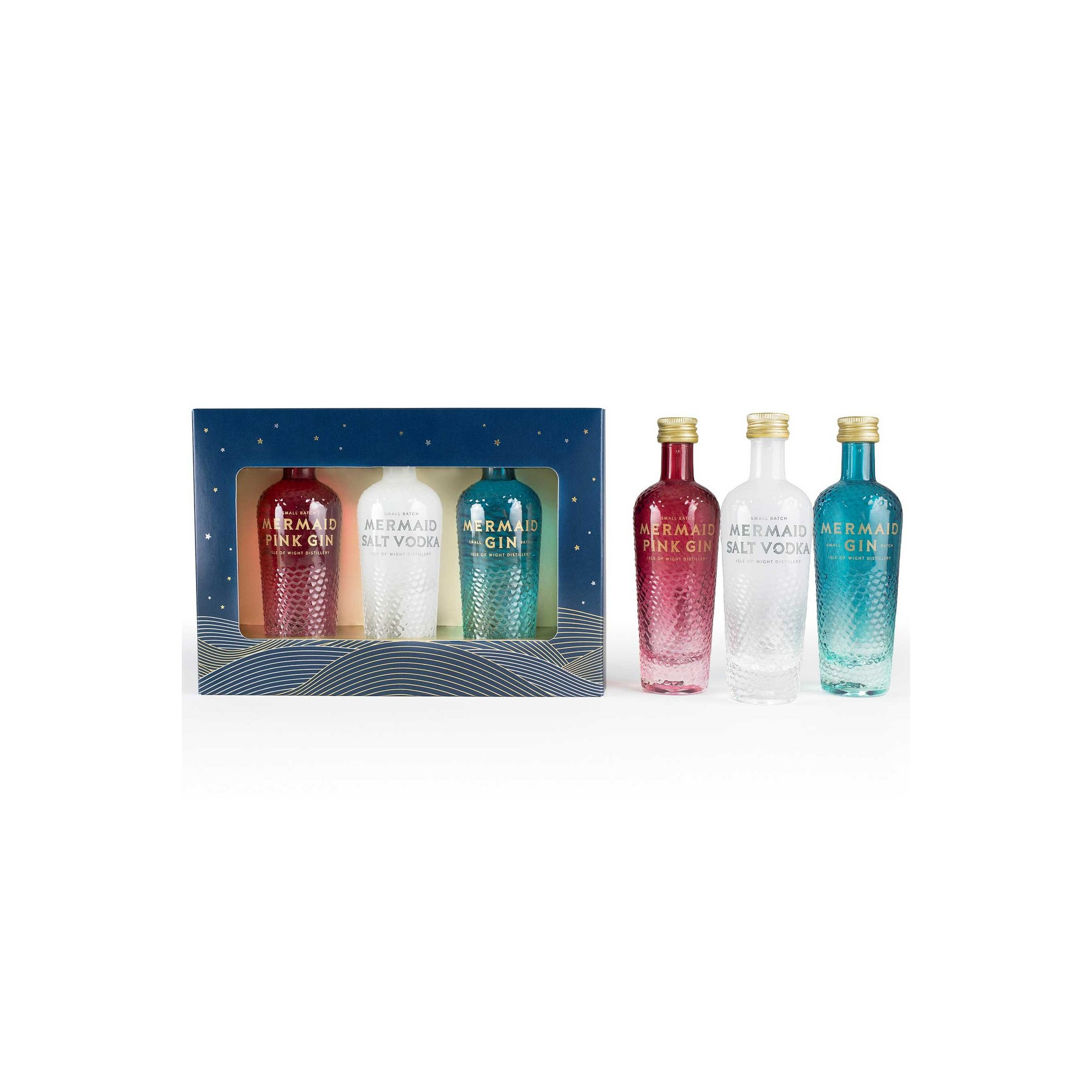 Image of Isle of Wight Distillery Mermaid Gin and Vodka Trio Gift Set