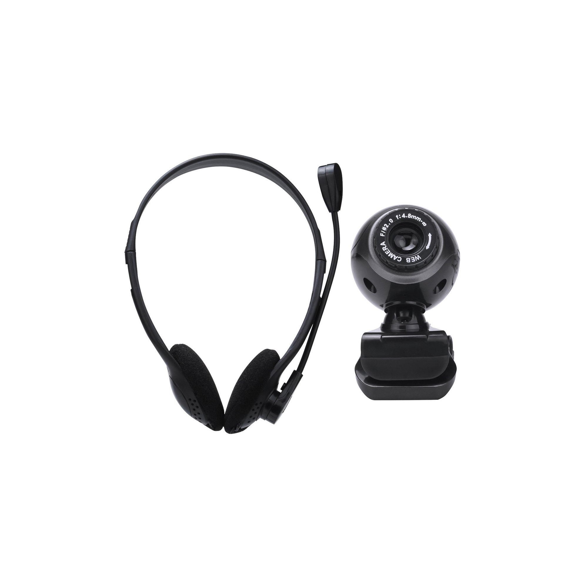 Image of Webcam and Headset with Microphone Bundle For PC and Laptop