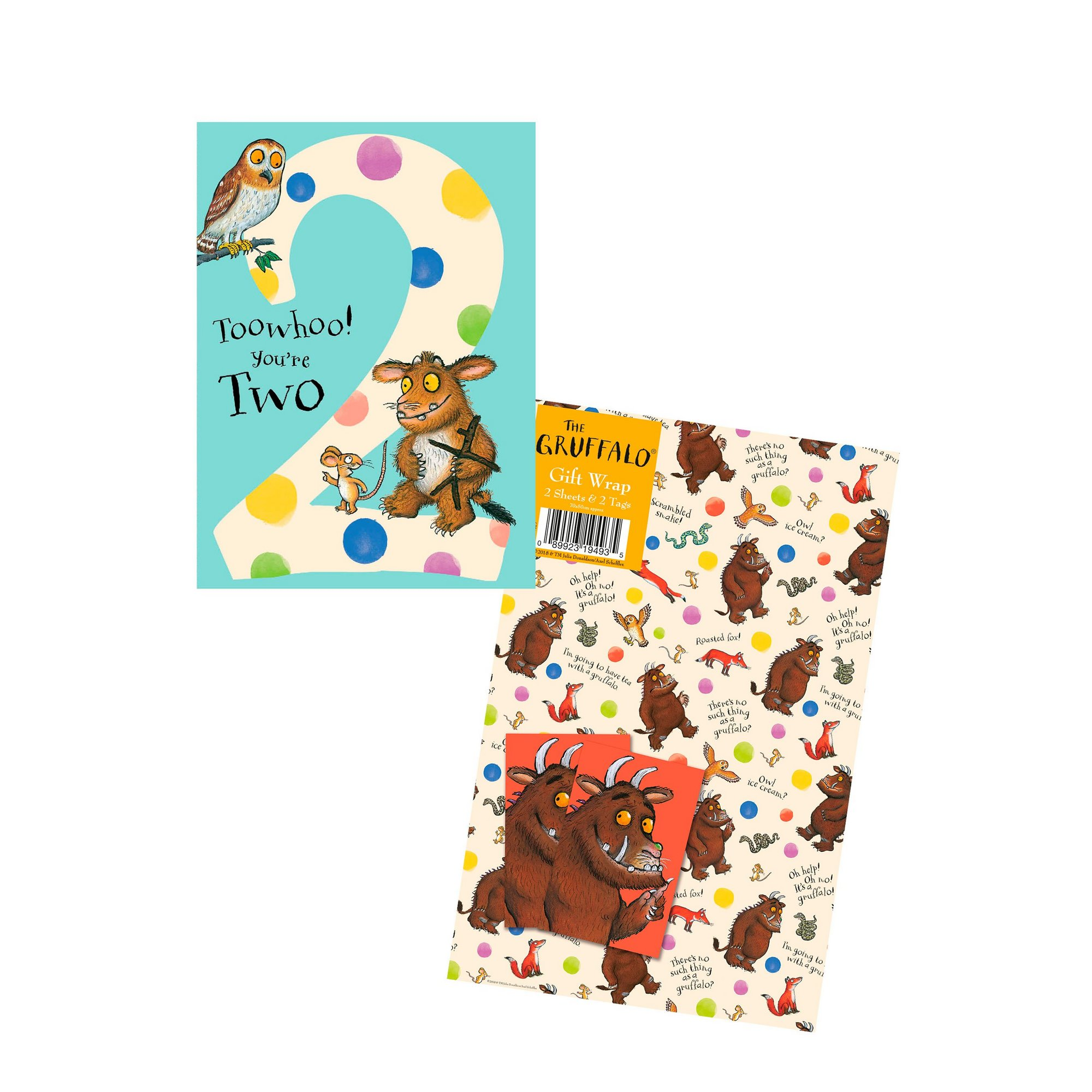 Image of Gruffalo 2nd Birthday Card and Gift Wrap
