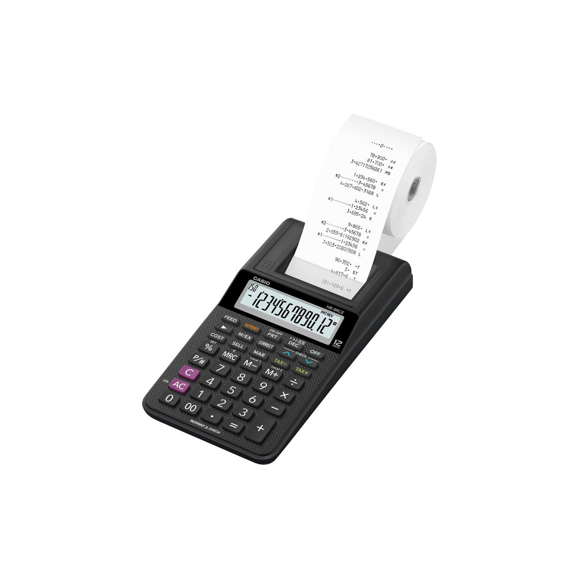 Image of Casio HR8RCE-BK Compact 12 Digit Display Printing Calculator