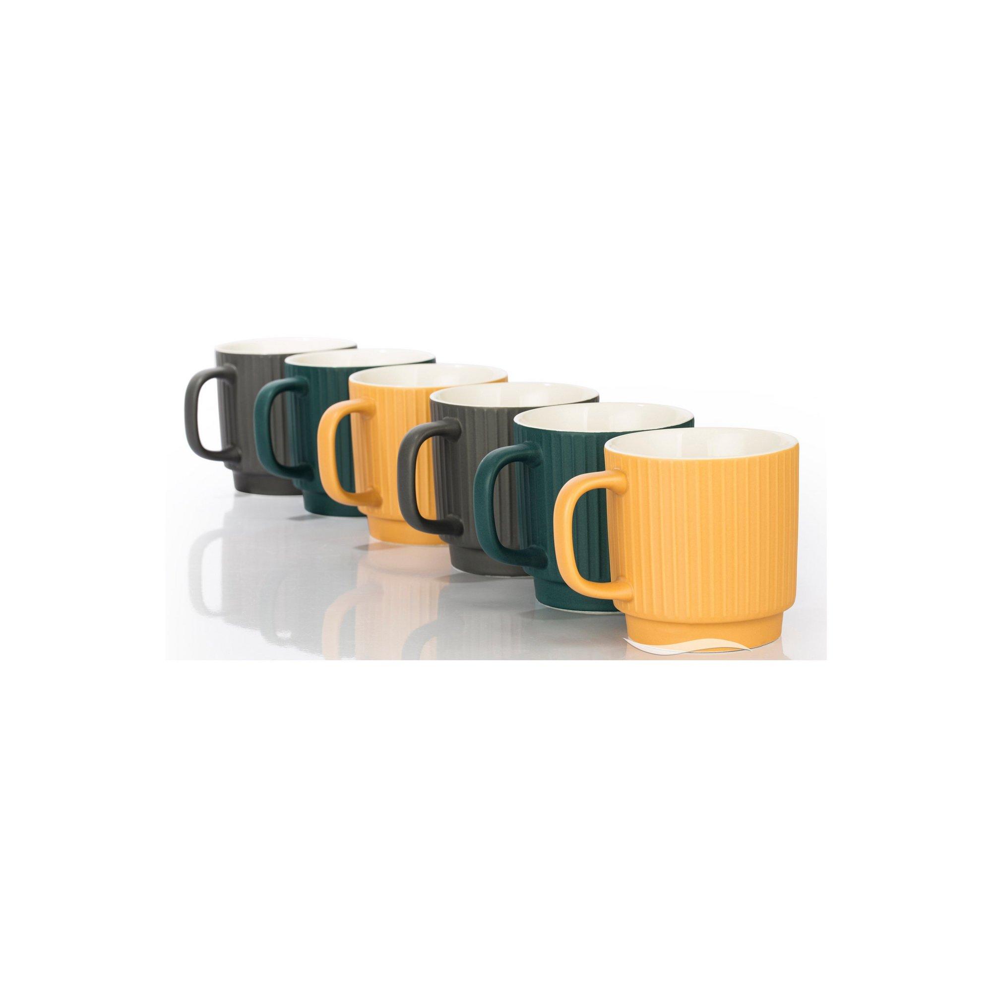 Image of 6 Piece China Matt Ribbed Mugs