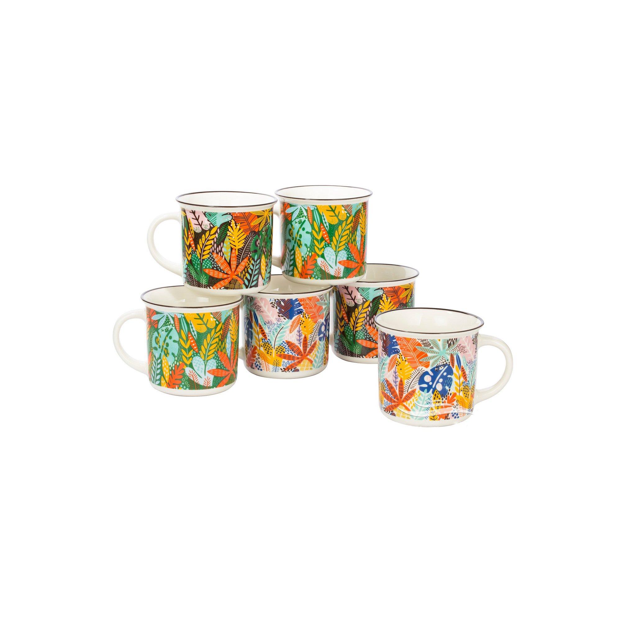 Image of 6 Piece Fine China Summer Leaf Mugs