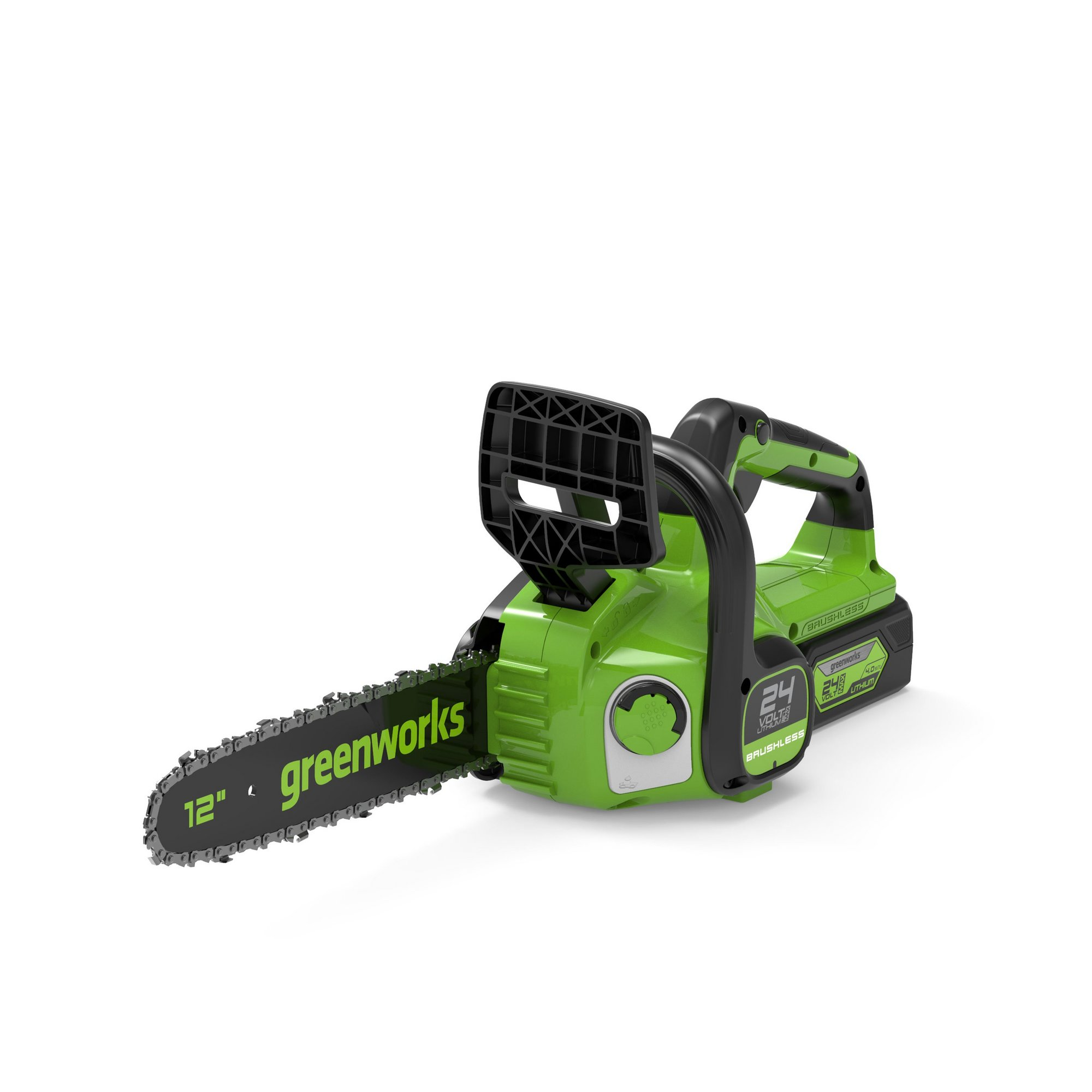 Image of Greenworks 24V Cordless 30cm Brushless Chainsaw with 4ah Battery ...