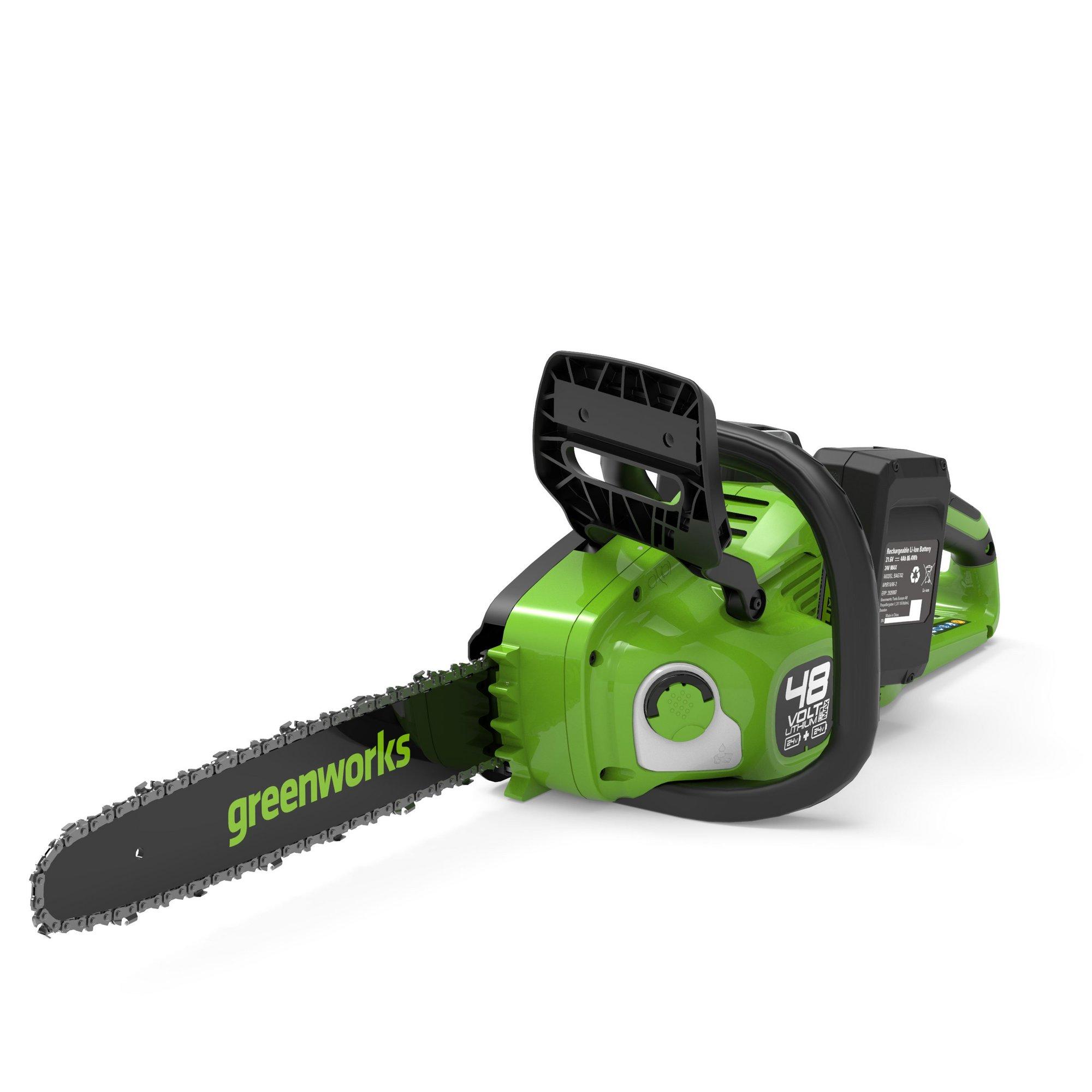 Image of Greenworks 48V Cordless 36cm Brushless Chainsaw with 2 x 24V 4ah ...