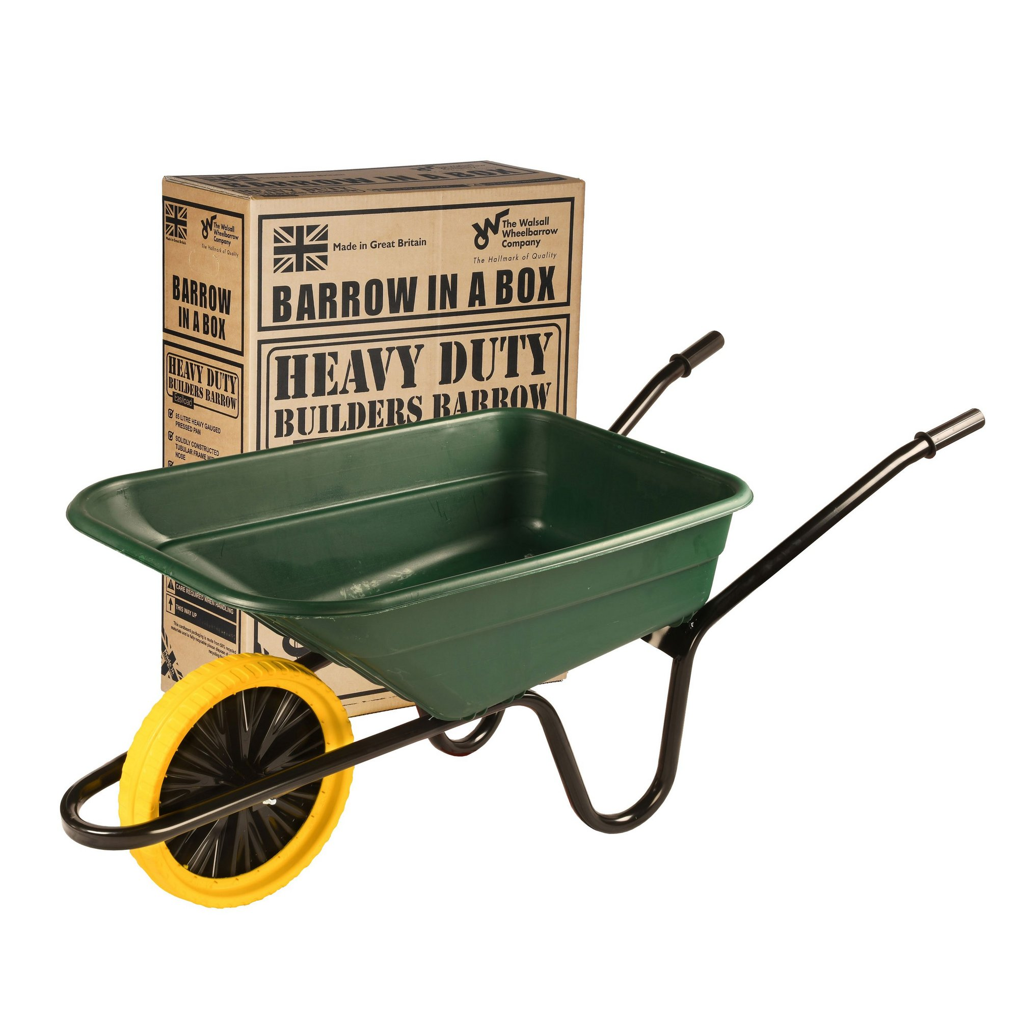Image of 90L Green Polypropylene Barrow Puncture Proof Wheel