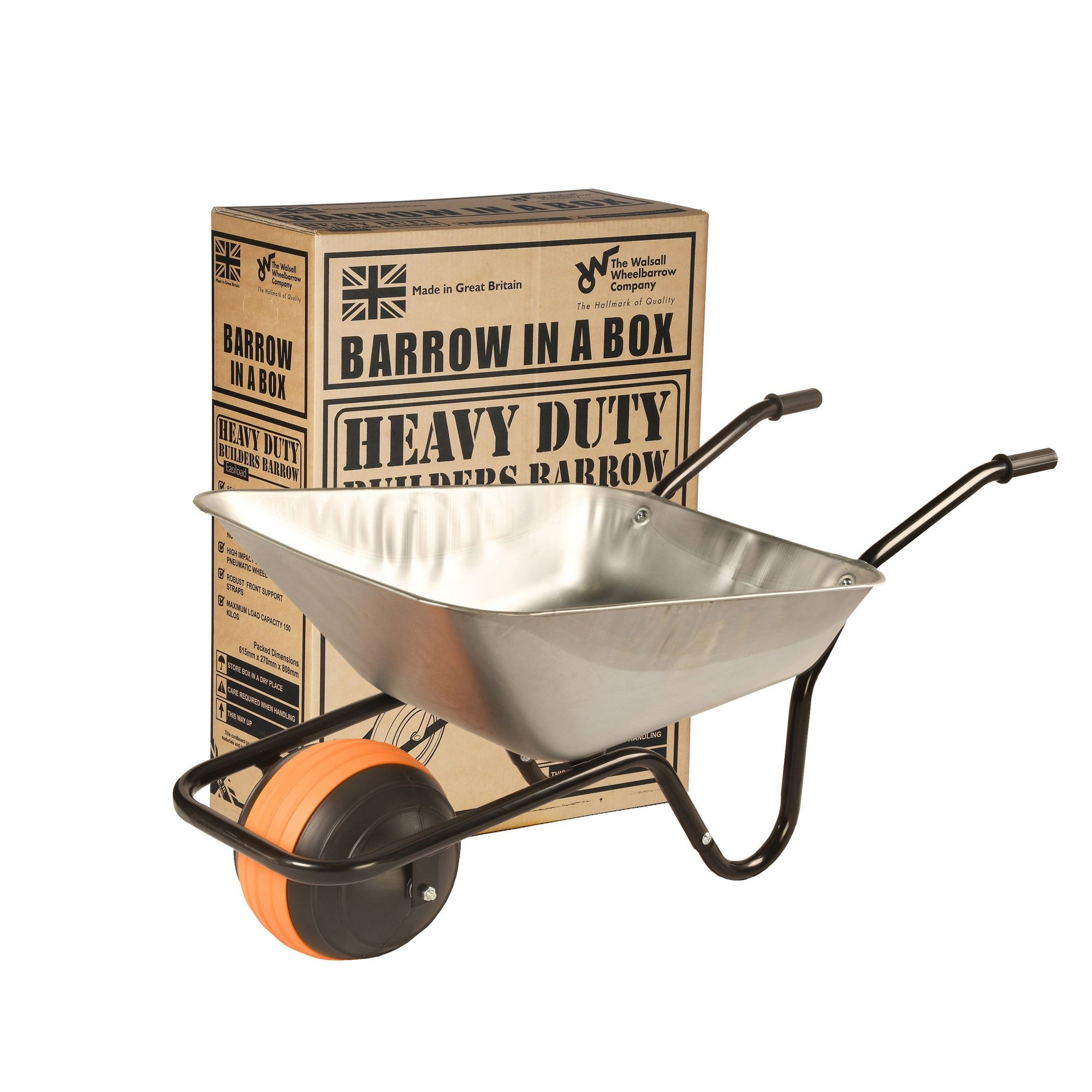 Image of Puncture Proof Galvanised Barrow In A Box Wheelbarrow