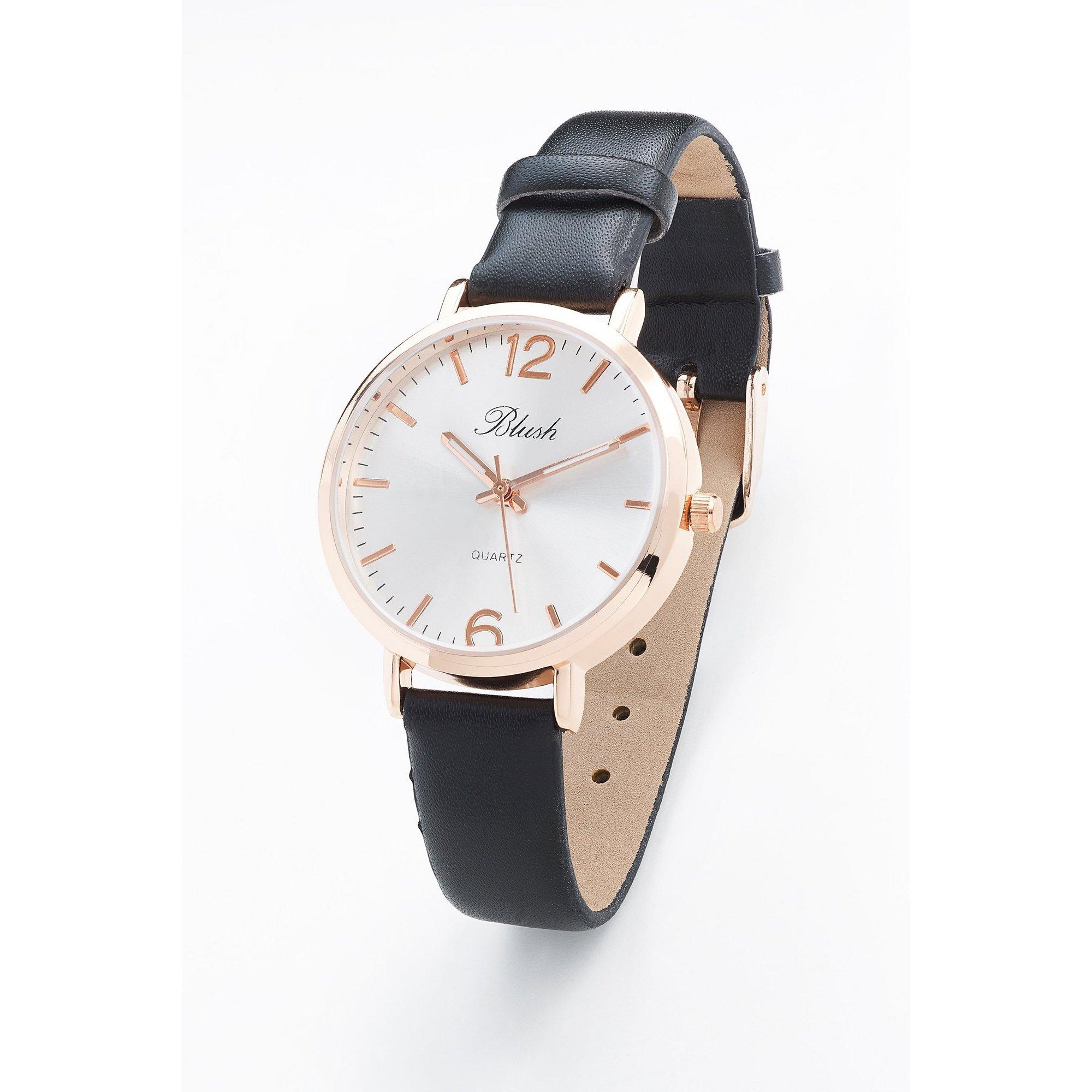 Image of Blush Black PU Strap Fashion Watch