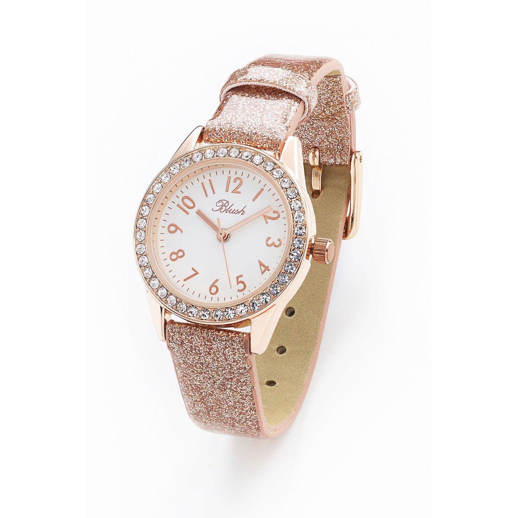Image of Blush PU Glitter Style Strap Fashion Watch