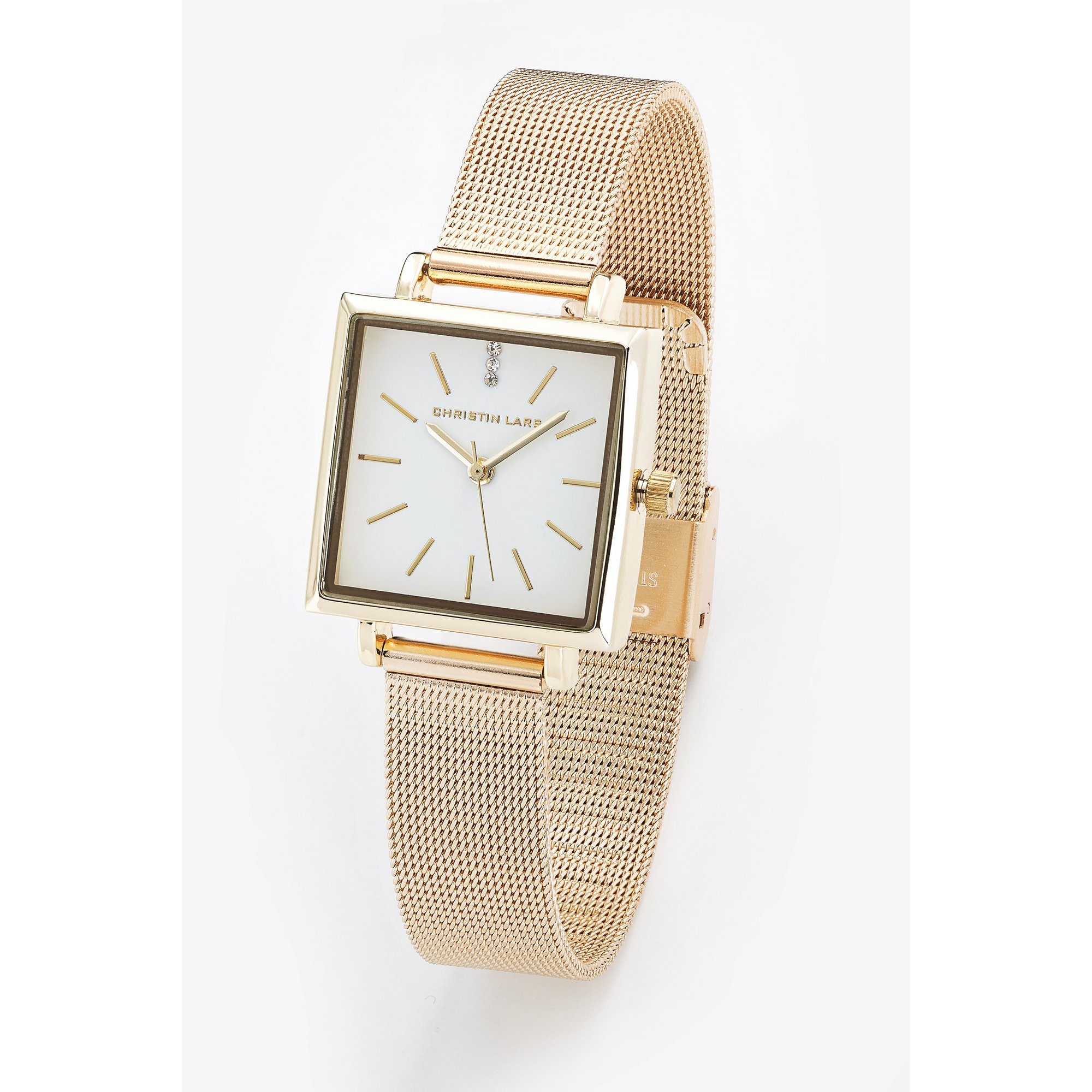 Image of Christin Lars Gold Tone Mesh Style Bracelet Watch