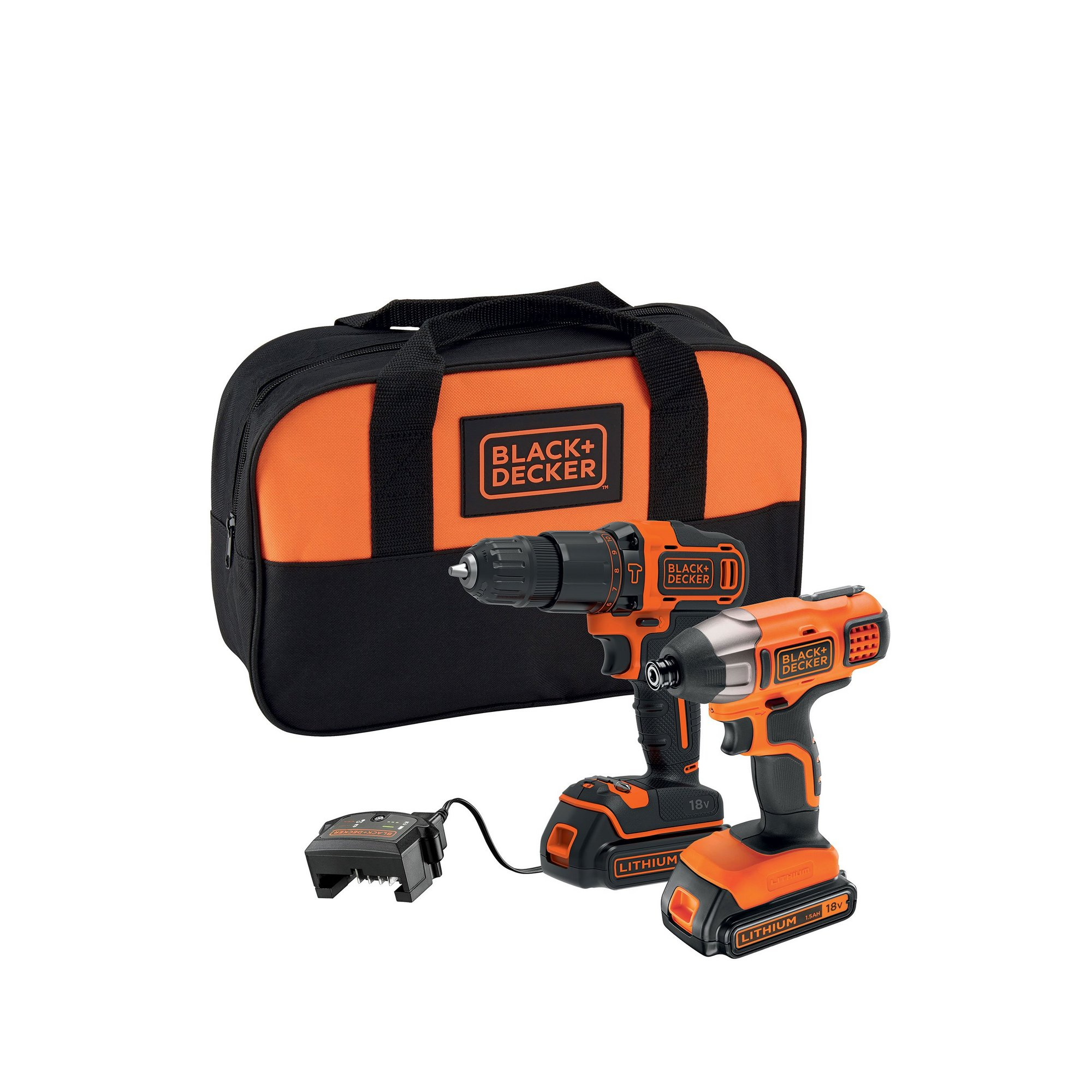 Image of Black and Decker 18v Cordless Combi Drill and Impact Driver