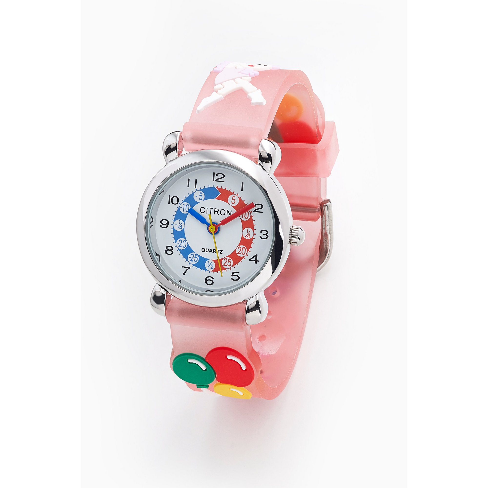 Image of Citron Pink Strap Watch with Time Tutor Dial