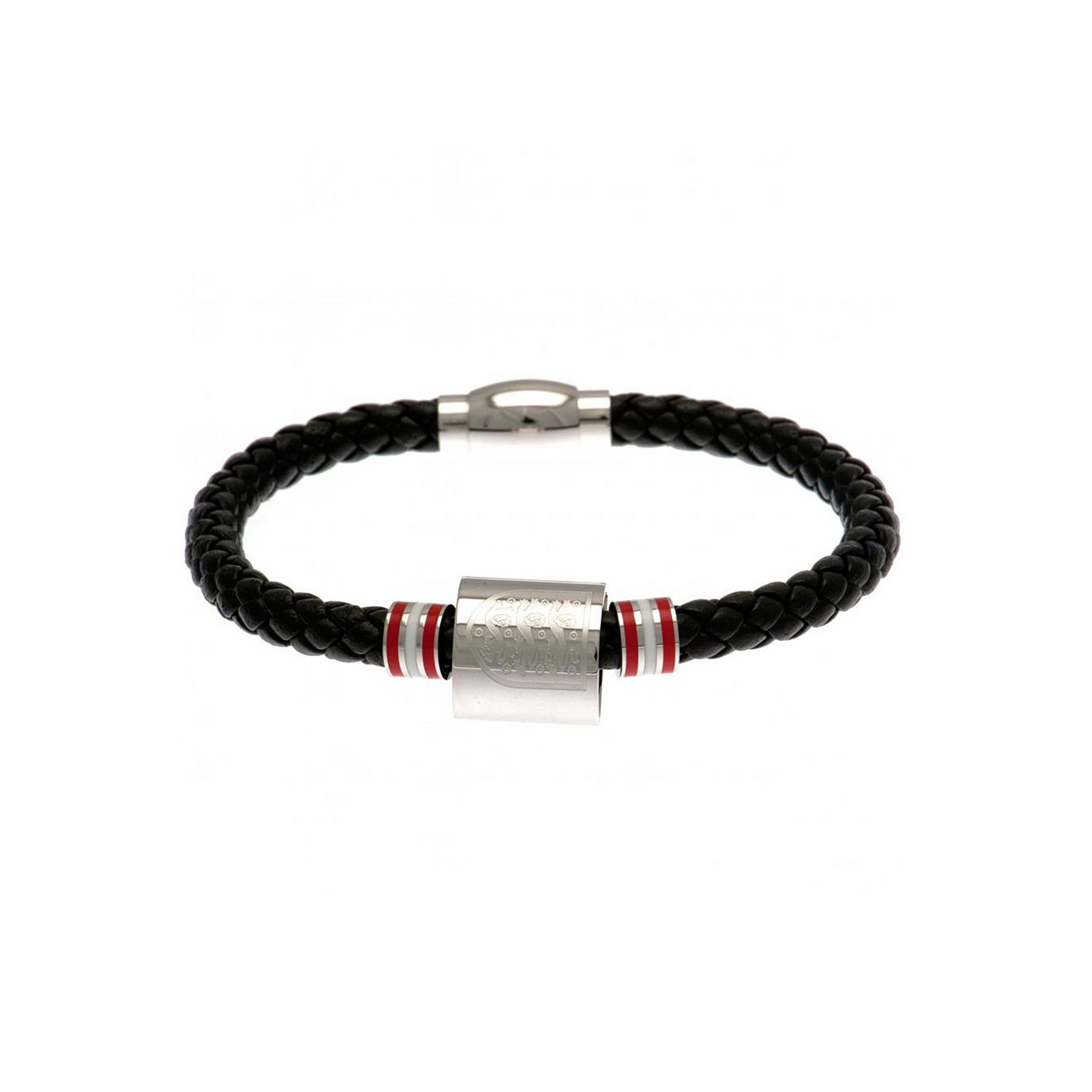 Image of England FC Stainless Steel and Leather Crest Bracelet