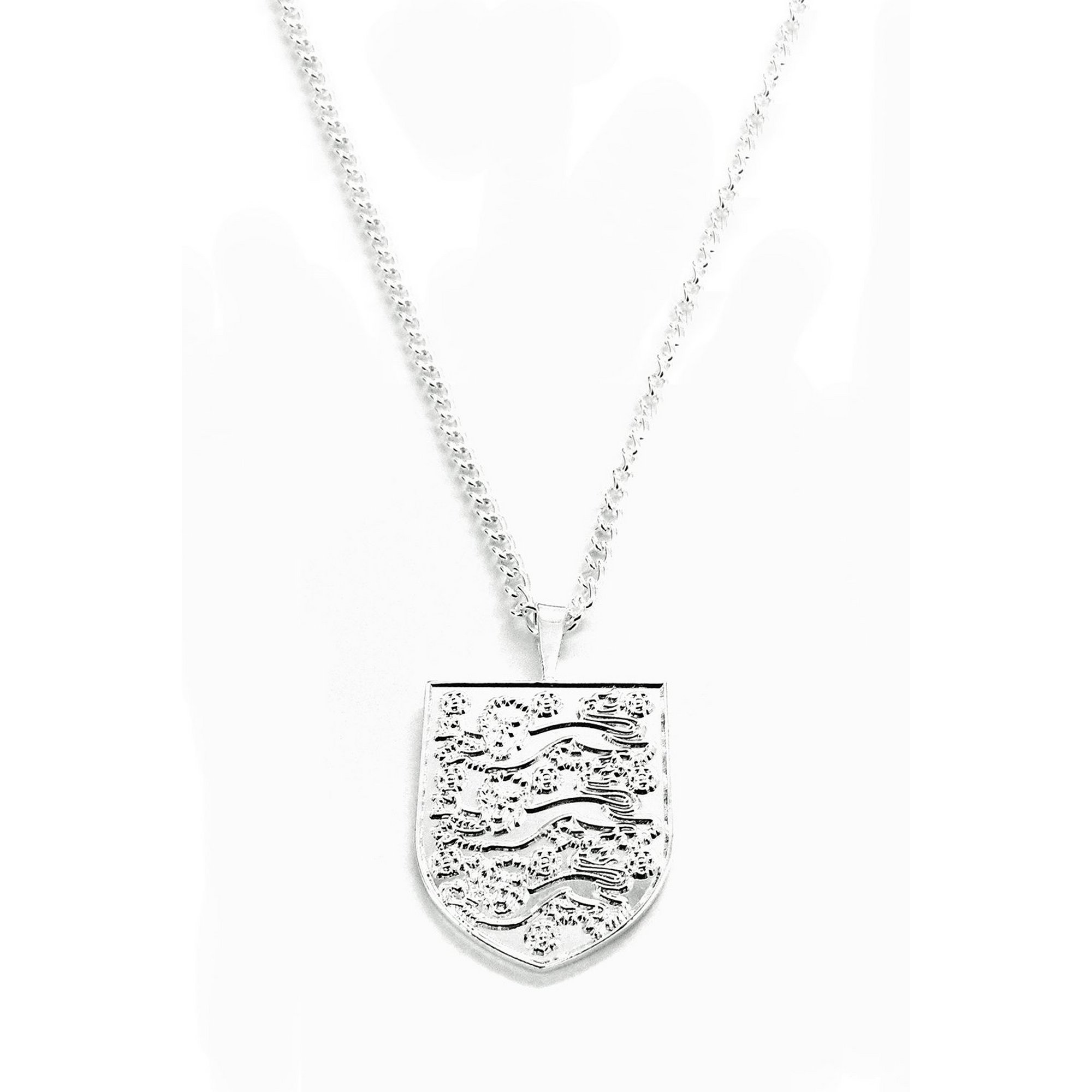 Image of England FC Silver Plated Crest Pendant and Chain