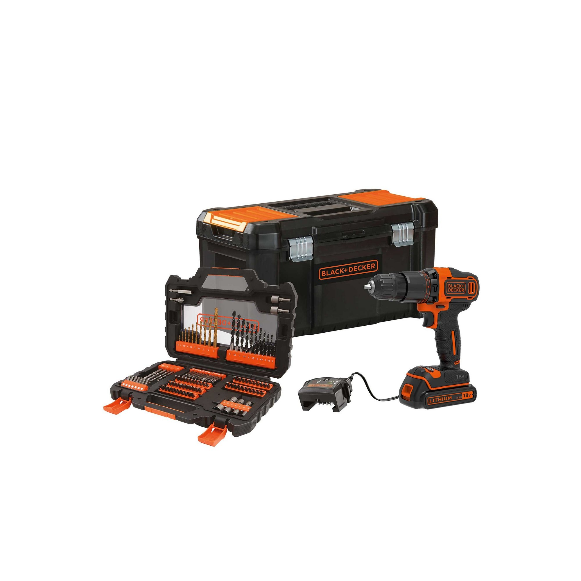 Image of Black and Decker 18v Hammer Drill with 104-Piece Accessory Set