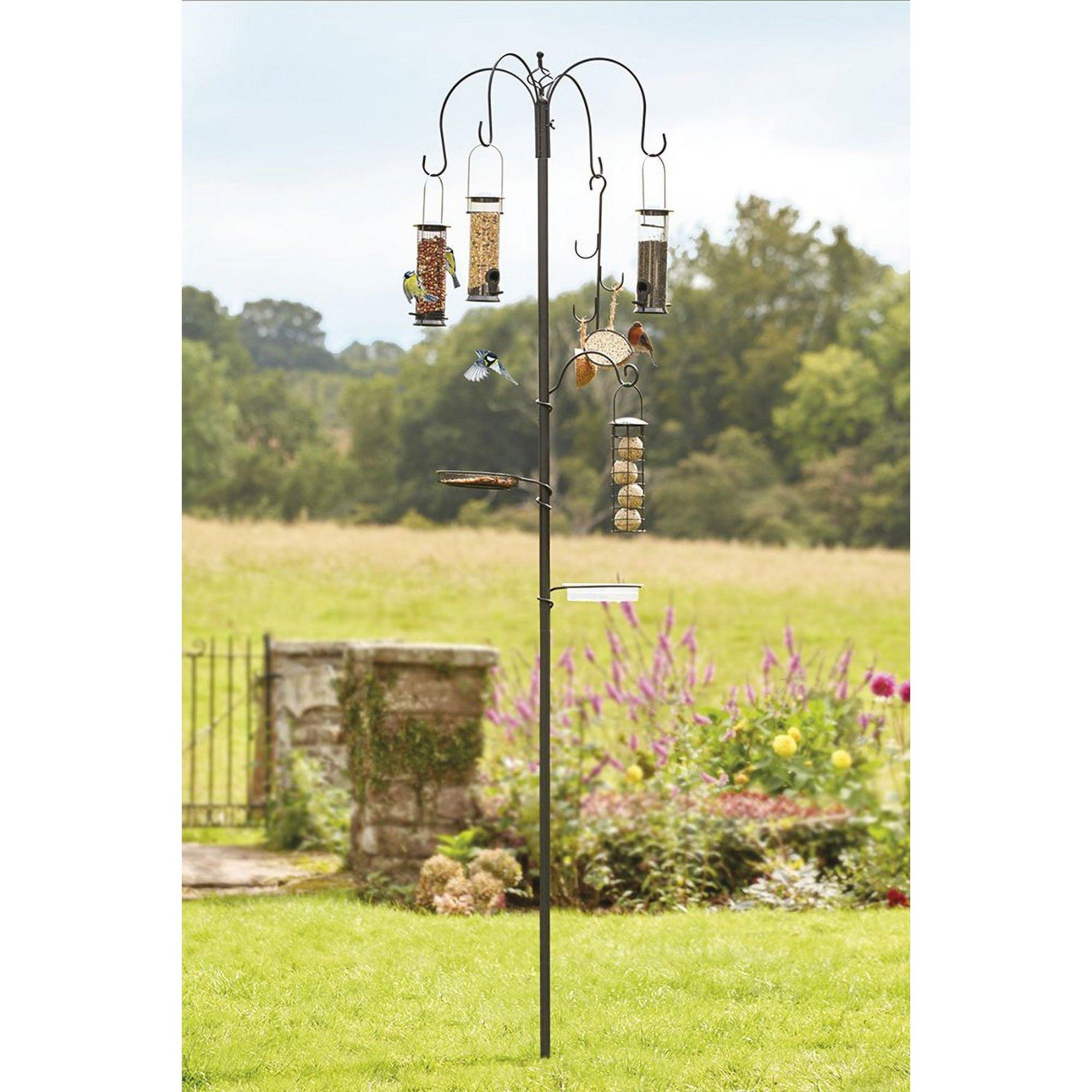 Image of Bird Feeding Station with 4 Birdfeeders