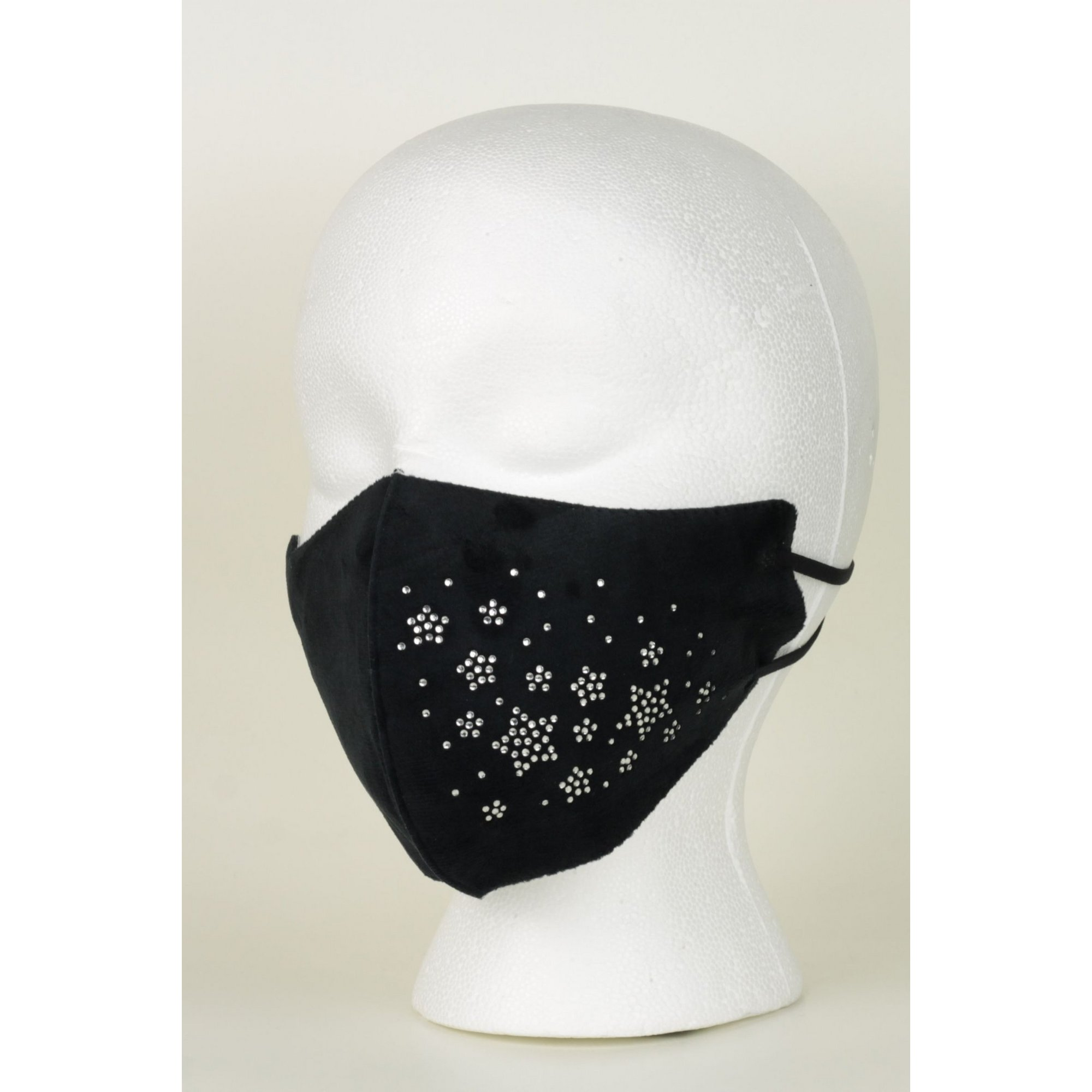 Image of Adult Black Velvet Touch Reusable Face Mask with Diamante Stars