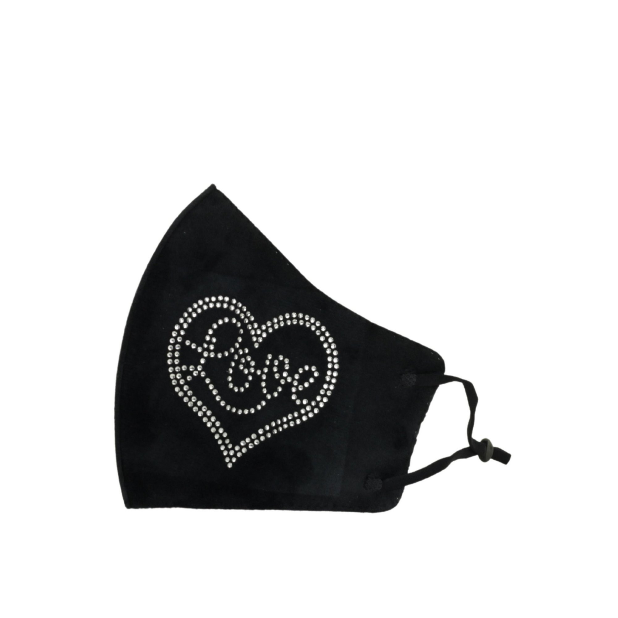 Image of Adult Black Velvet Touch Reusable Face Mask with Diamante Heart