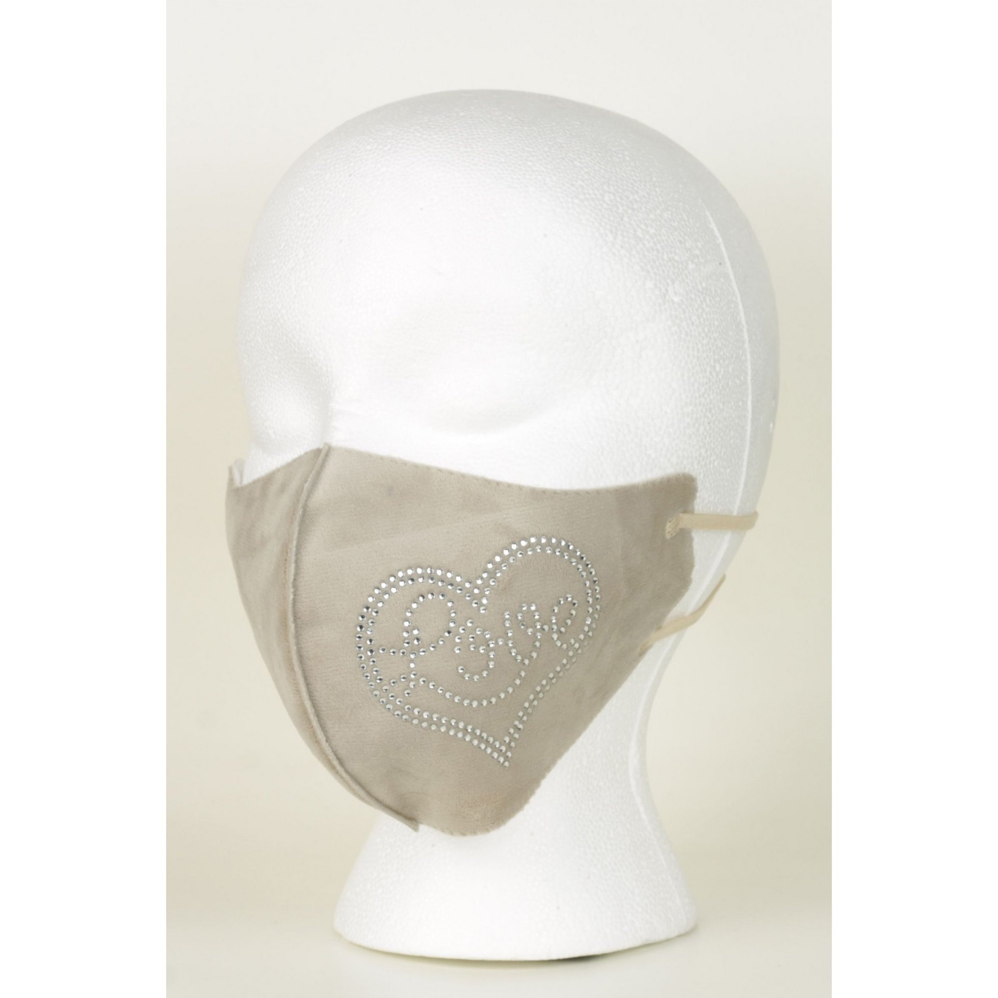 Image of Adult Beige Velvet Touch Reusable Face Mask with Diamante Heart