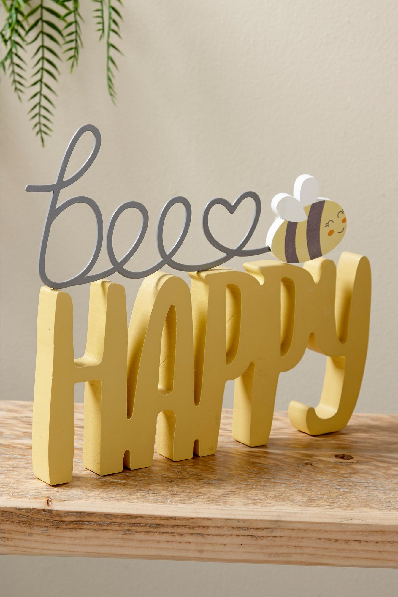 Bee happy wooden decoration with a bumble bee in yellow and grey