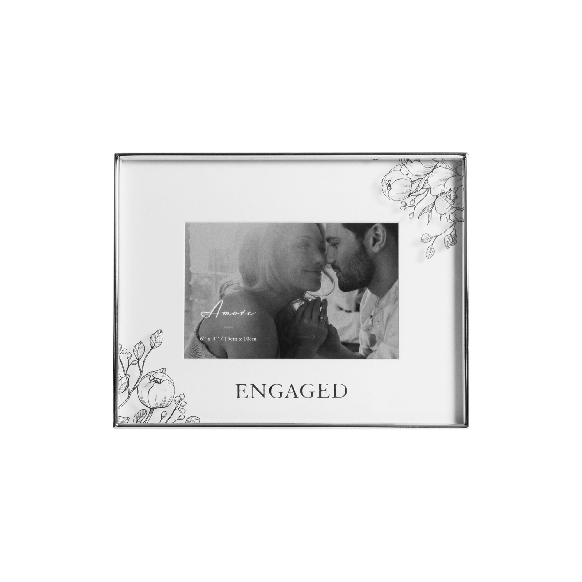 Image of Amore by Juliana Silver Floral Engagement Frame