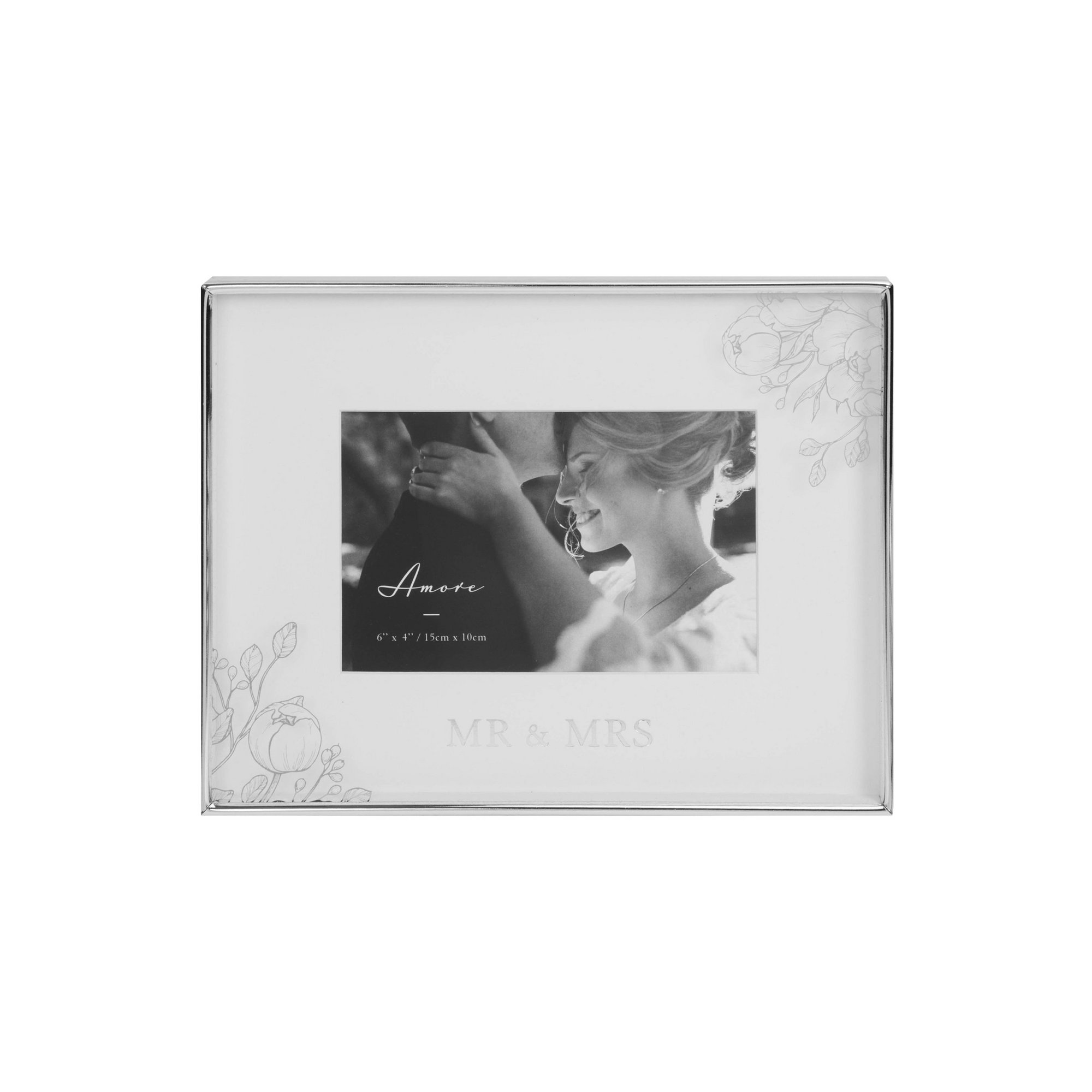 Image of Amore by Juliana Silver Floral Mr and Mrs Frame