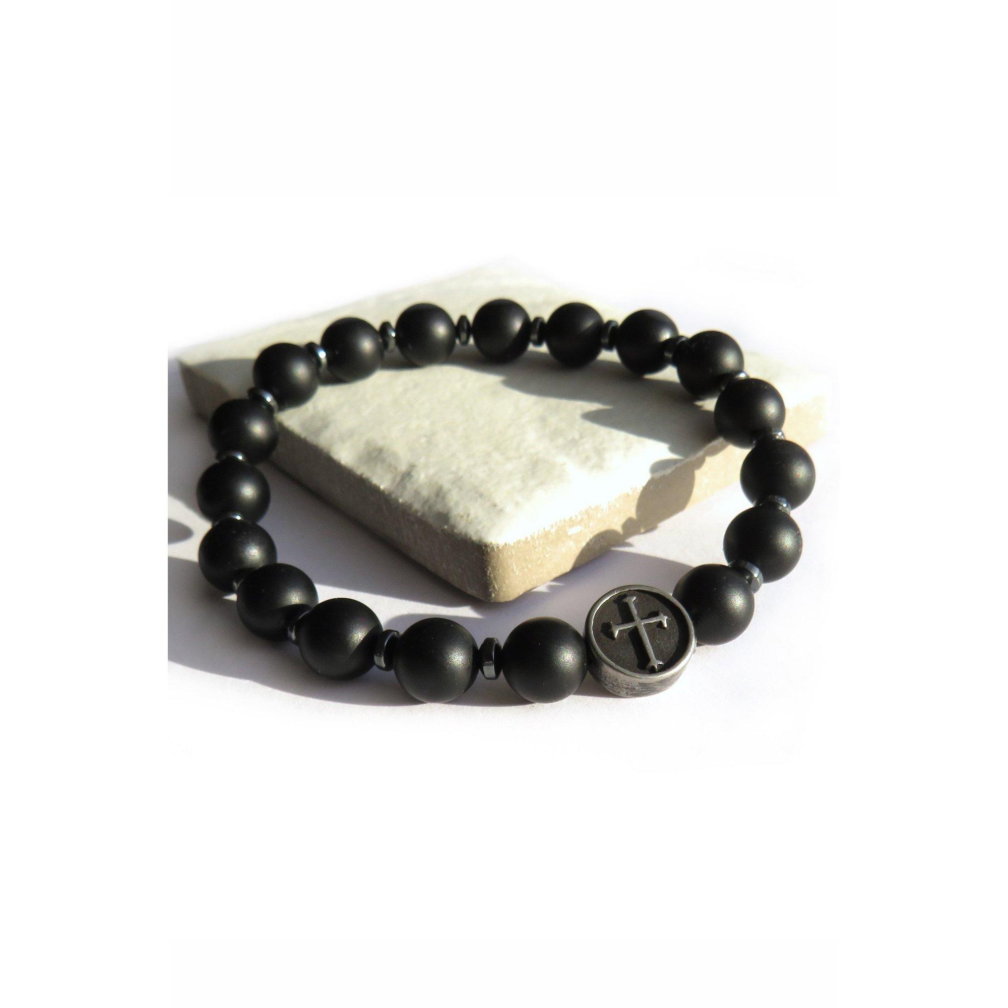 Image of Black Agate and Cross Bracelet