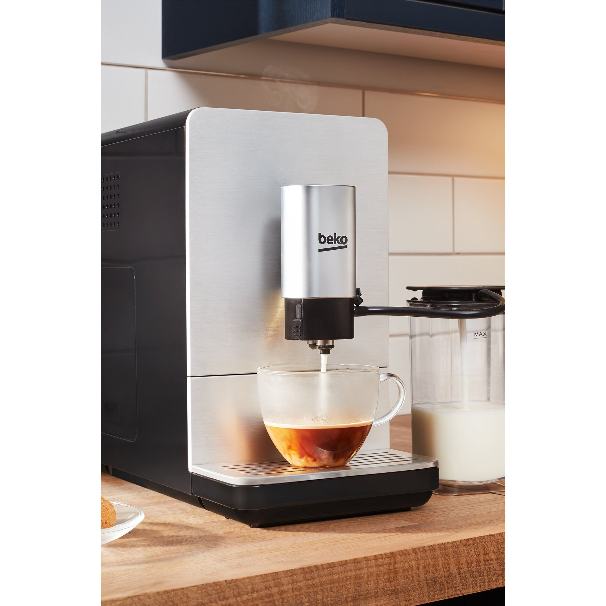 Image of Beko Bean to Cup Coffee Machine with Steam Wand